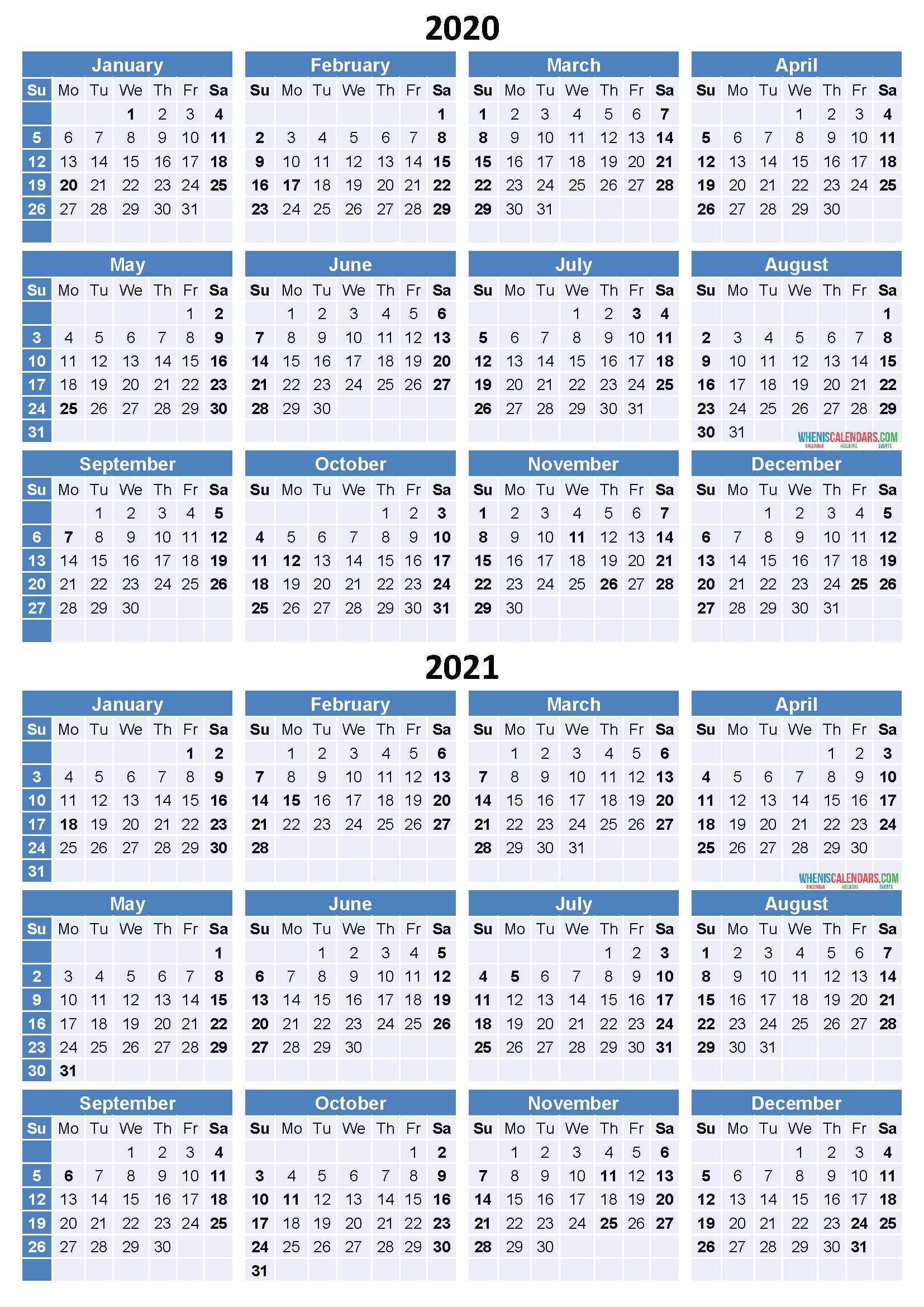 Printable 2 Year Calendar 2020 2021 | Calendar Template ...