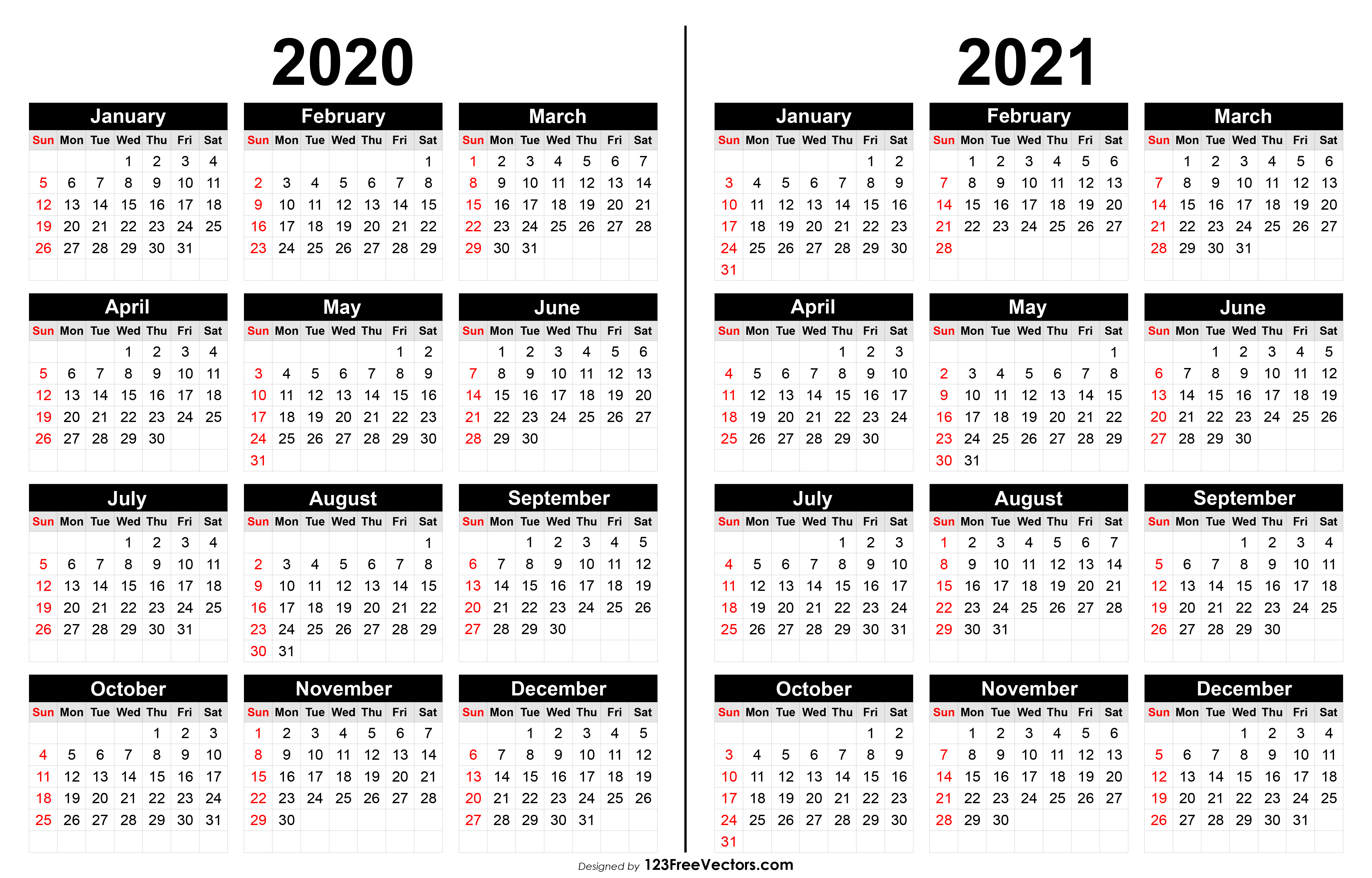 2020 And 2021 Calendar Printable with 2 Year Calendar Template 2020 2021