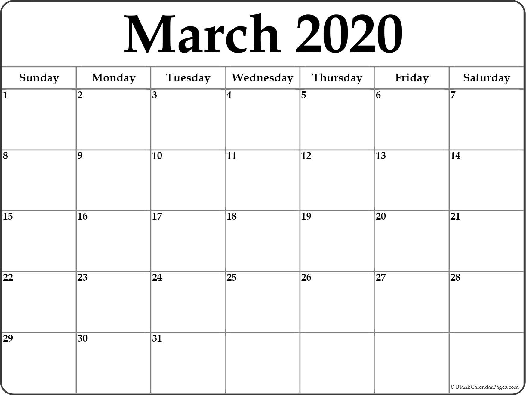 2020 Blank Calendar Printable - Wpa.wpart.co with regard to 2020 Monthly Fill In Calendars