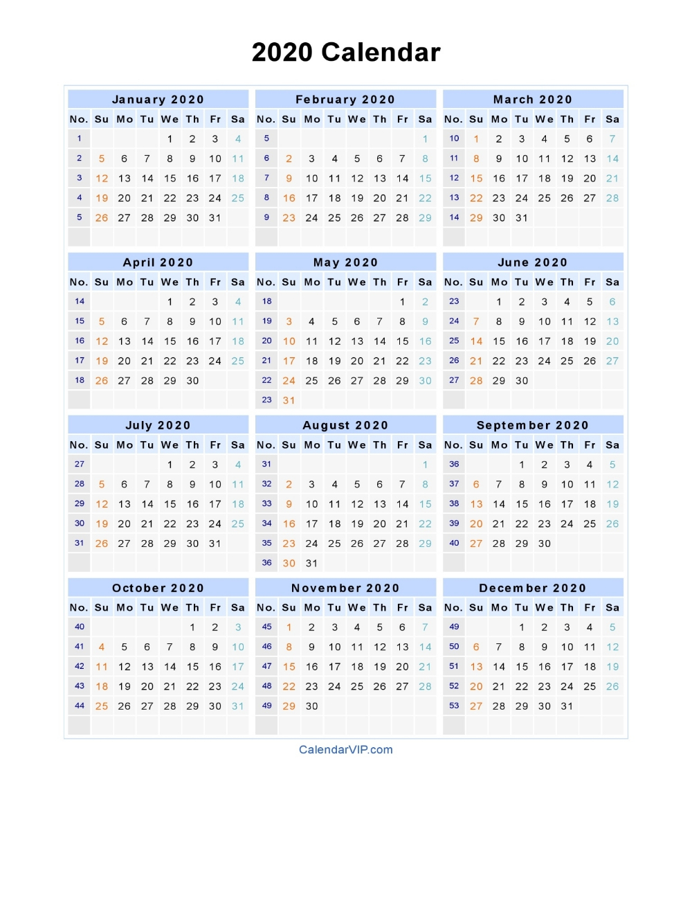 2020 Calendar - Blank Printable Calendar Template In Pdf pertaining to 2020 Calendar By Month And Week Number Excel