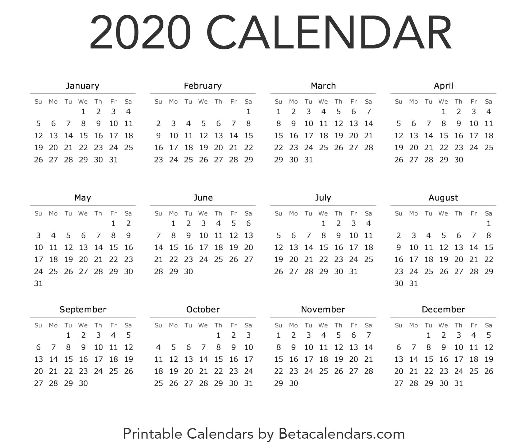 2020 Calendar - Free Printable Yearly Calendar 2020 in Tanduay Calendar 2020