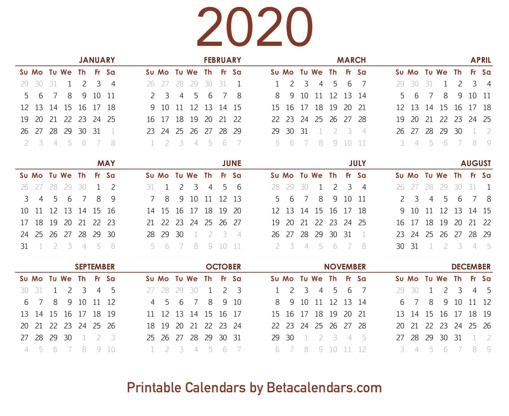 2020 Calendar - Free Printable Yearly Calendar 2020 throughout Tanduay Calendar 2020