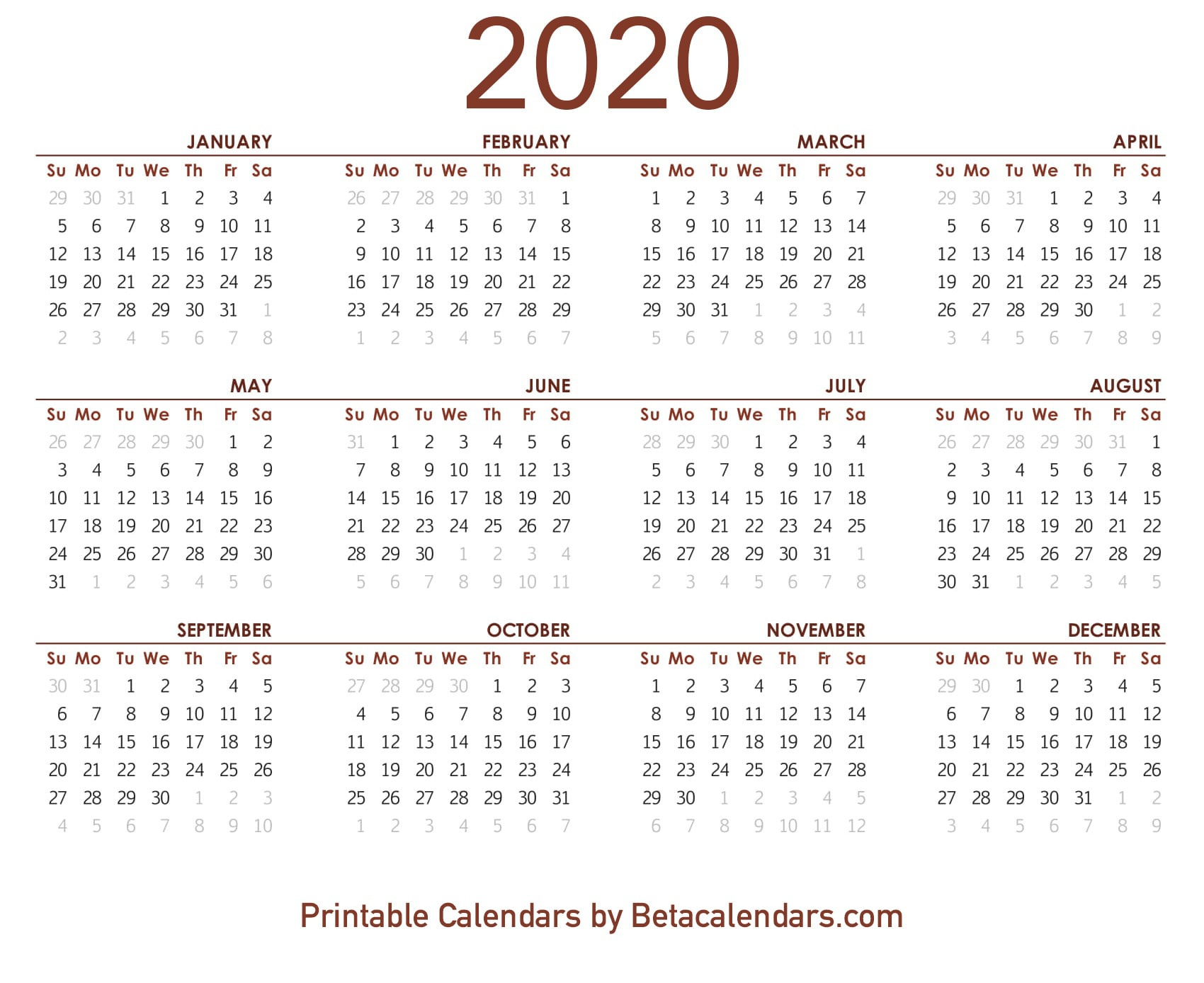 2020 Calendar - Free Printable Yearly Calendar 2020 with regard to 2020 Calendar Free Printable