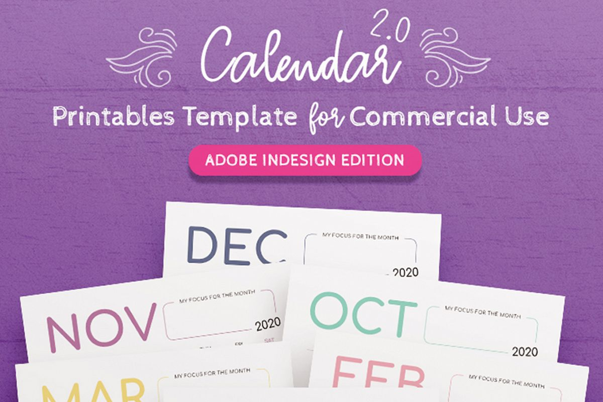 2020 Calendar Indesign Template For Commercial Use regarding 2020 Calendar Printable Free Indesign