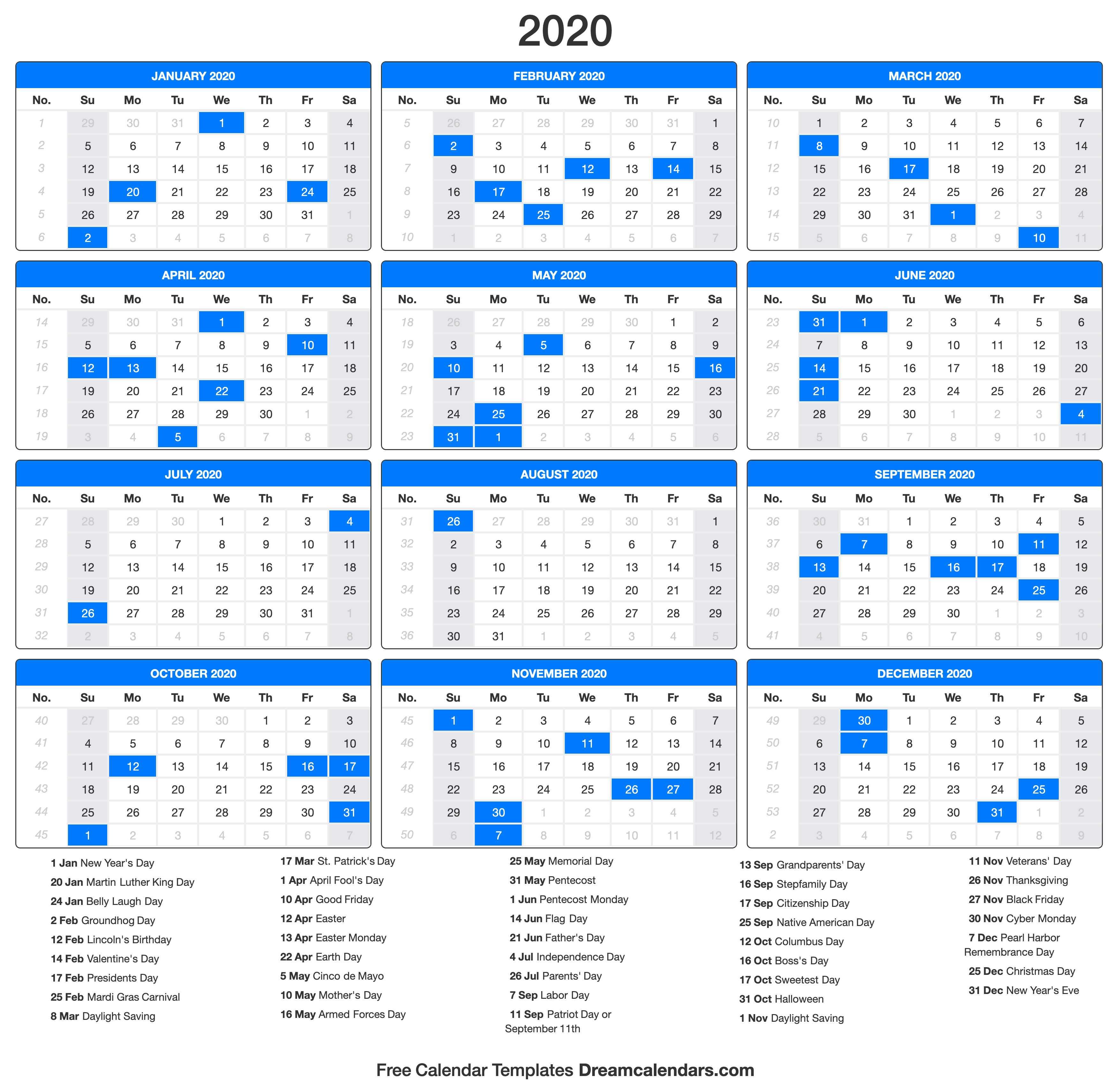 2020 Calendar inside 2020 Calendar With Holidays