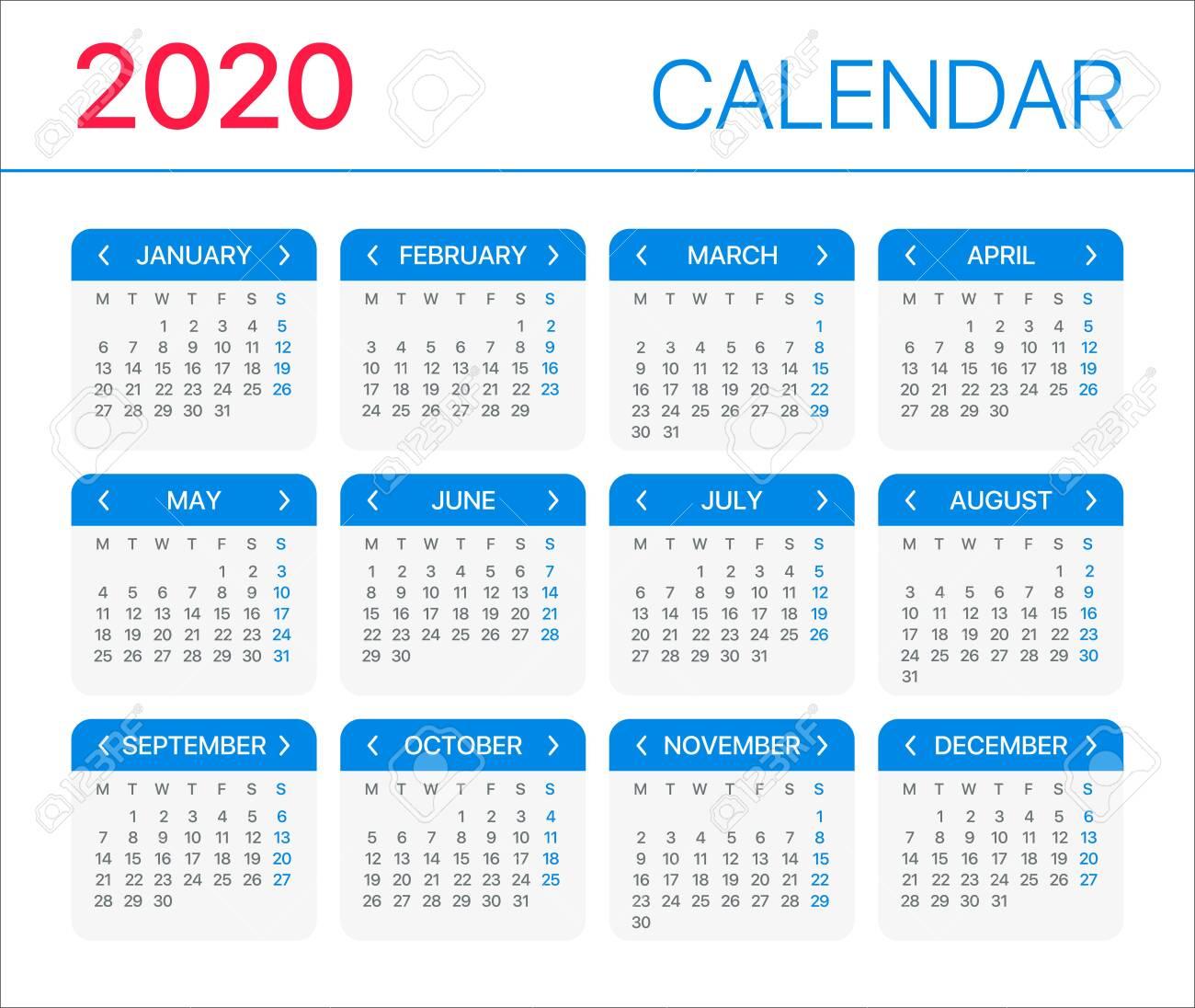 2020 Calendar - Monday To Sunday - Vector Template throughout 2020 Monday Through Sunday Calendar Template