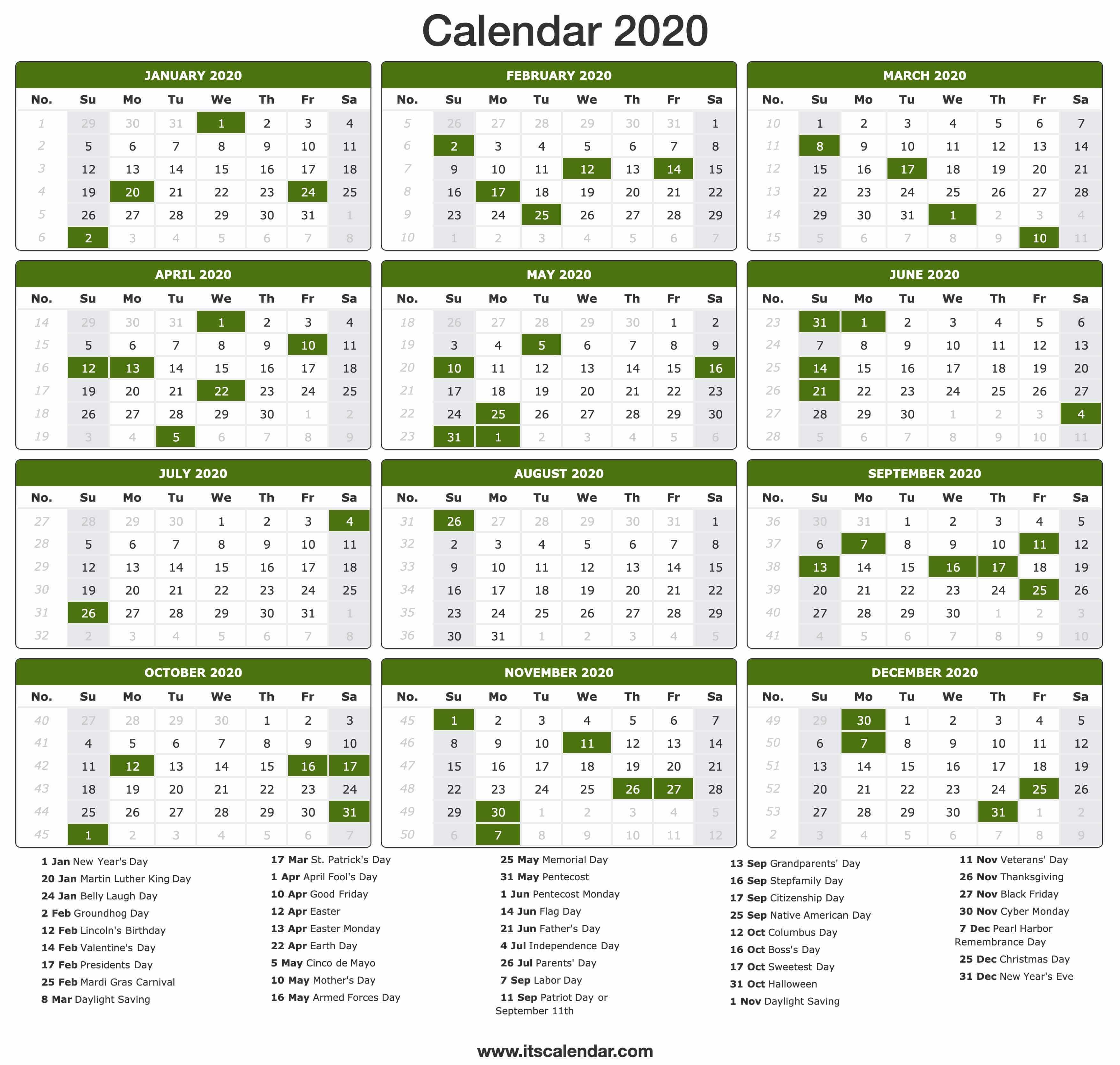 2020 Calendar | Printable 2020 Calendar pertaining to Calendar At A Glance With Usa Holidays For 2020