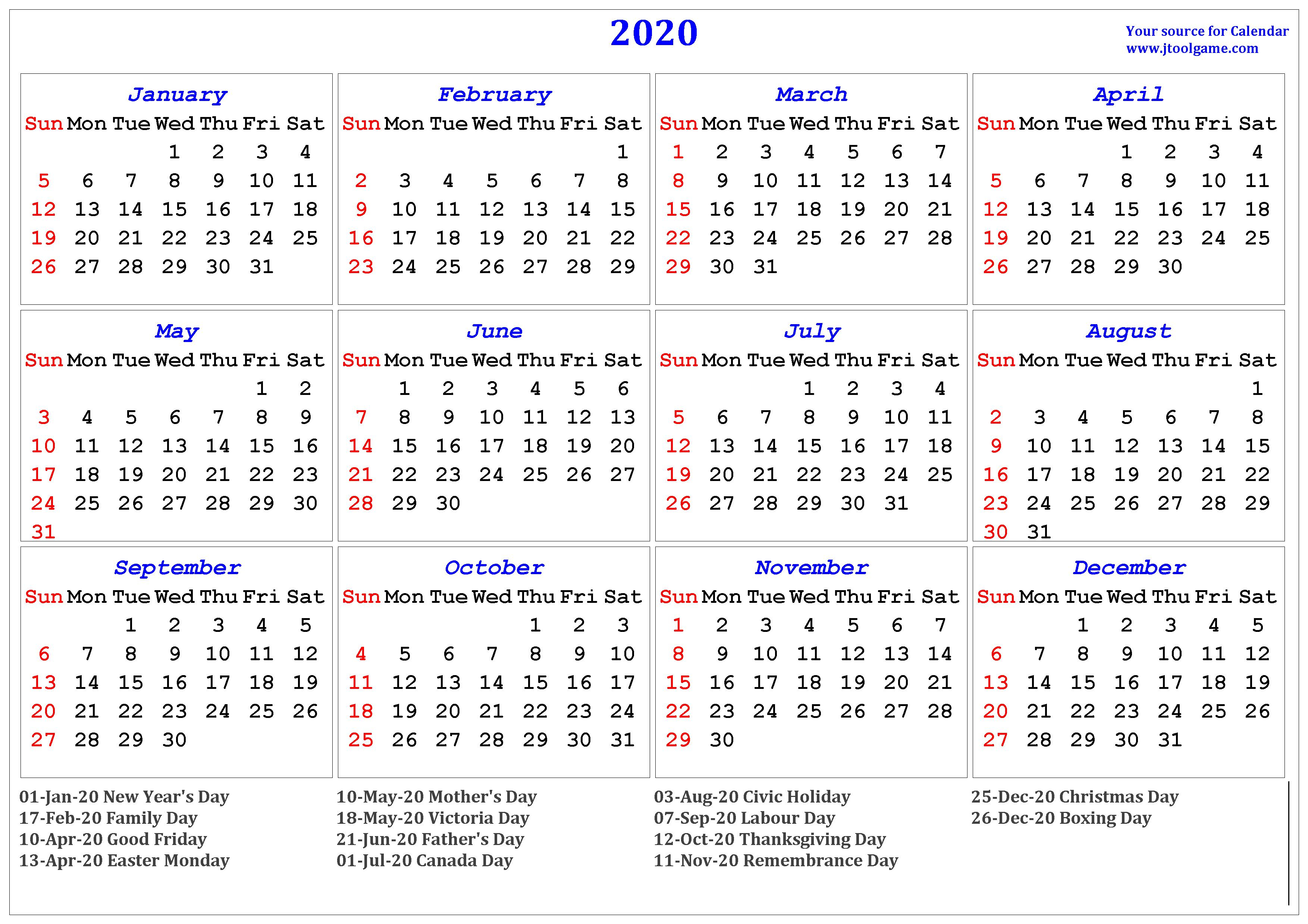 2020 Calendar - Printable Calendar. 2020 Calendar In regarding Free Printable 2020 Canadian Calendar