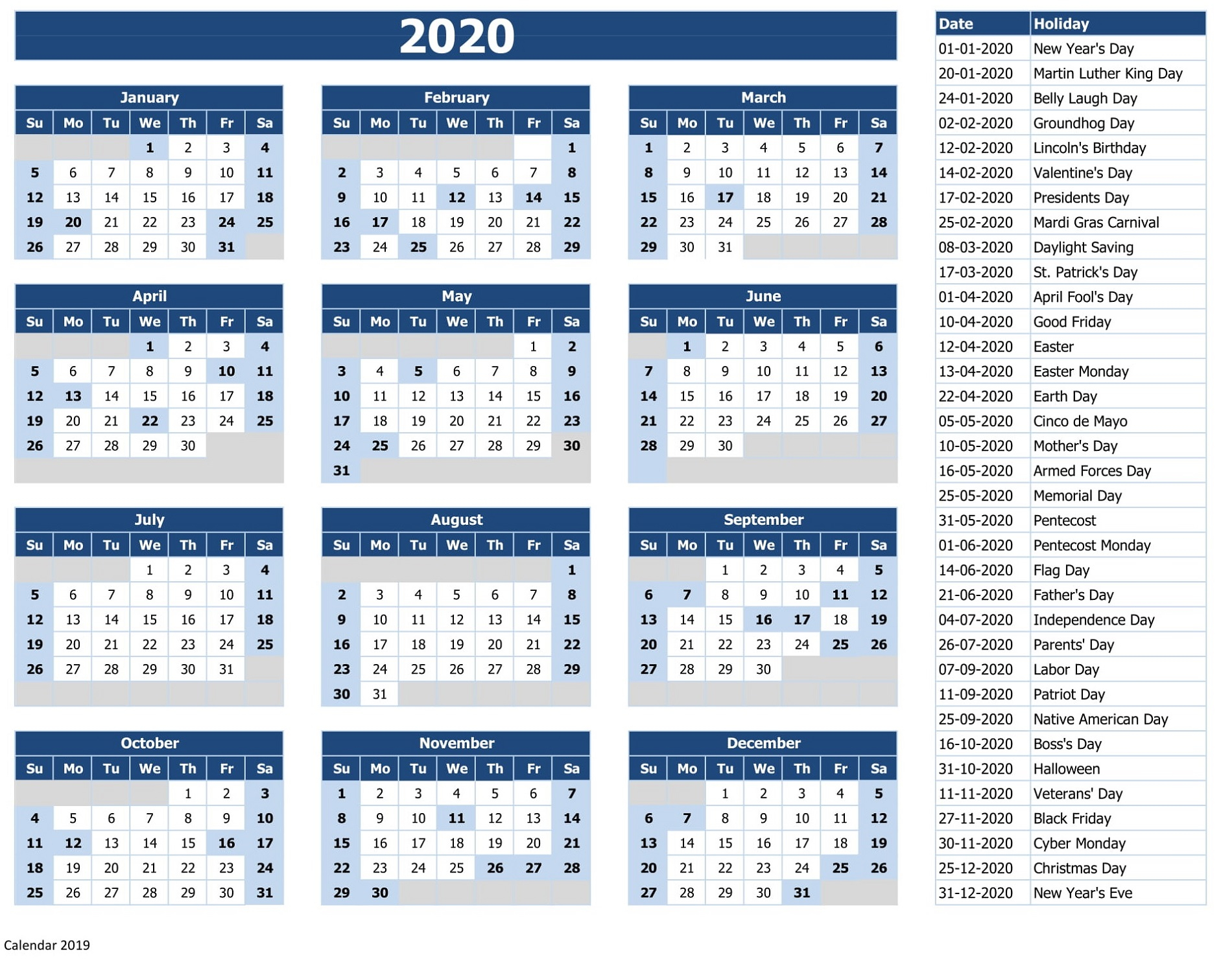 2020 Calendar Printable With Holidays And Notes | Calendar with 2020 Calendar With Holidays