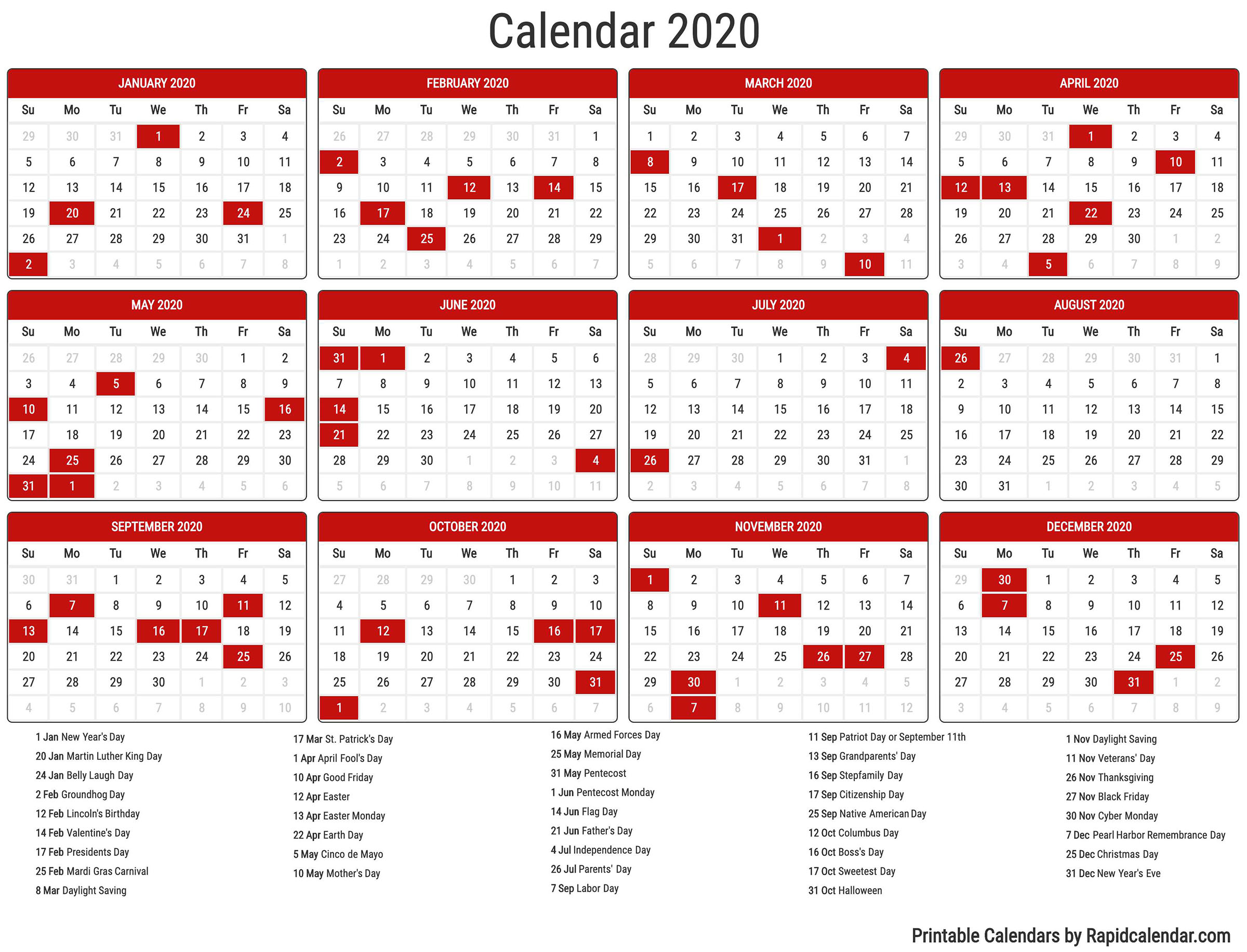 2020 Calendar - Rapid Calendar throughout Festive Printable Calendar 2020