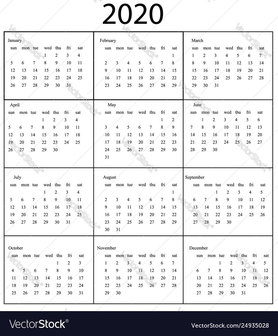 2020 Calendar Template Starts Sunday Year regarding 2020 Monday Through Sunday Calendar Template