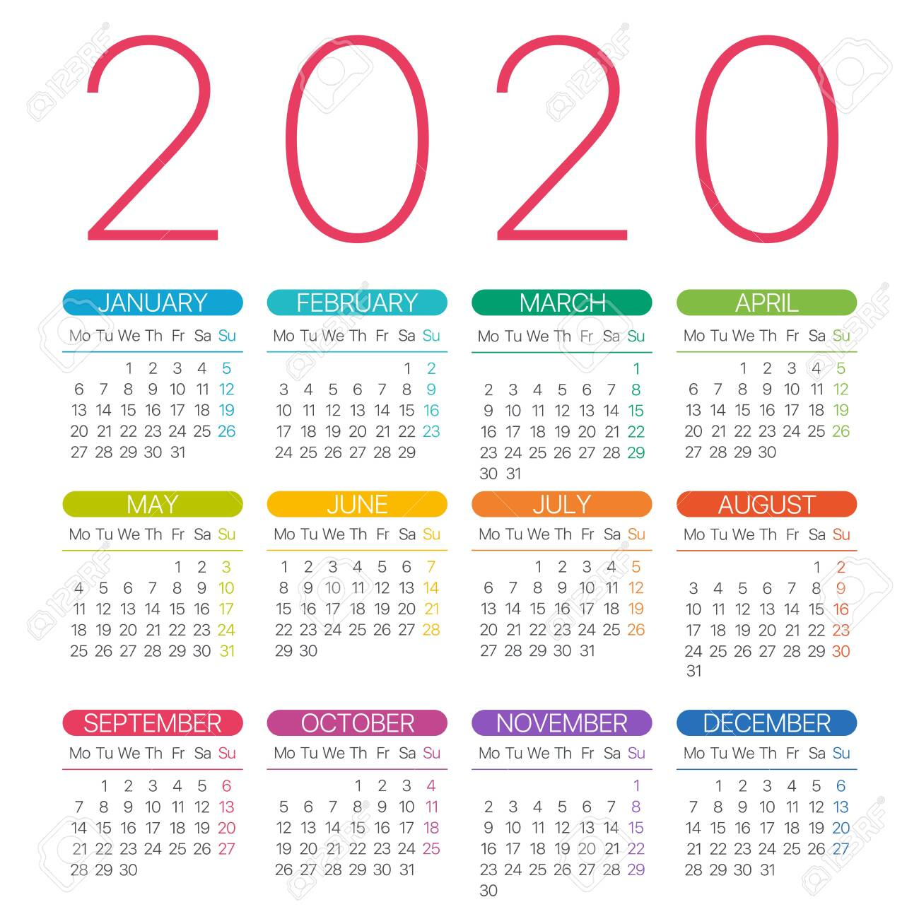 2020 Calendar Thin Line - Monday To Sunday - Vector Template throughout 2020 Monday Through Sunday Calendar Template
