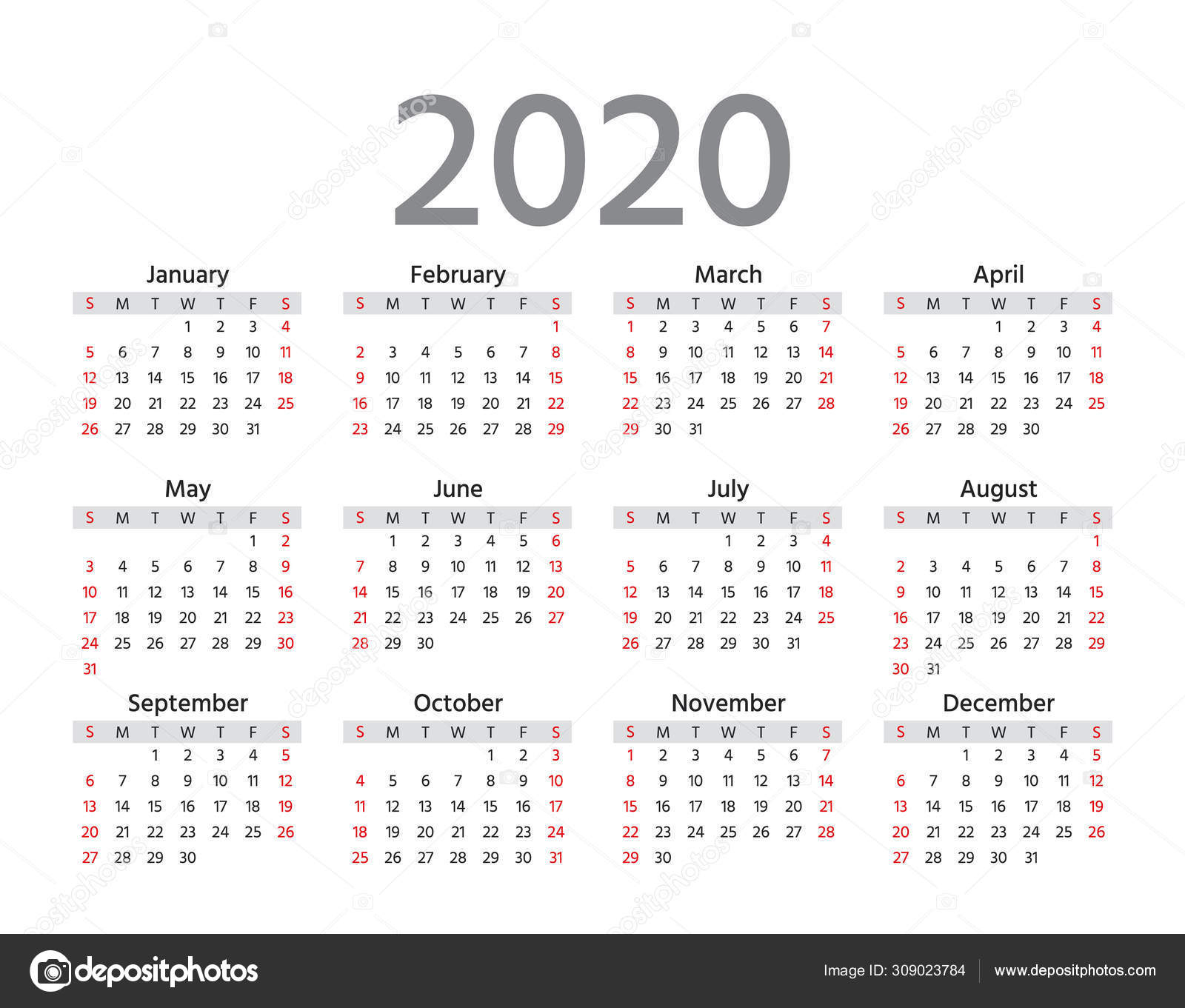 2020 Calendar. Vector Illustration. Template Year Planner regarding 2020 Calendars To Print Without Downloading