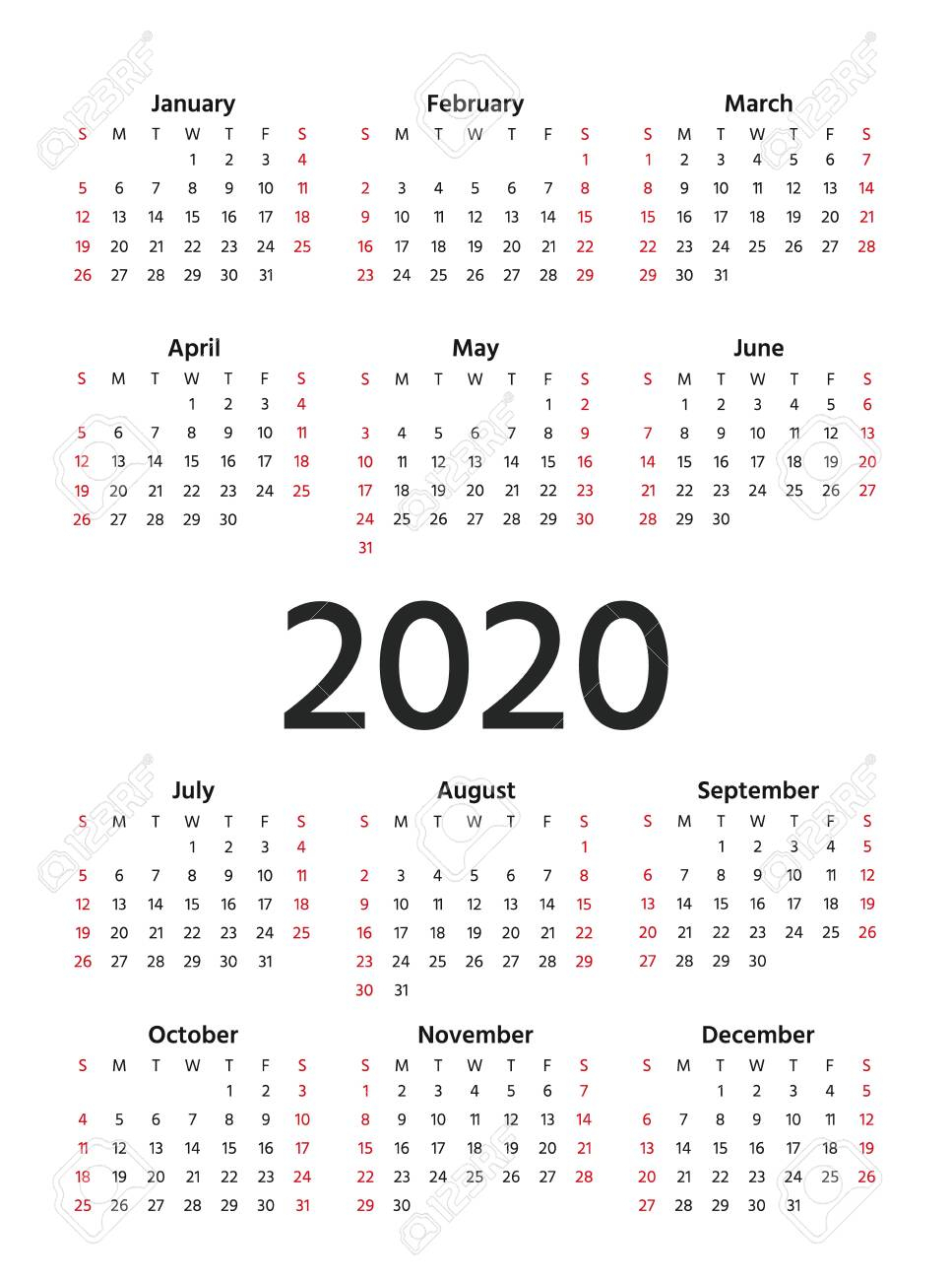 2020 Calendar. Vector. Stationery 2020 Year Vertical Template.. with regard to October 2020 Printable Planning Calendar In Portrait