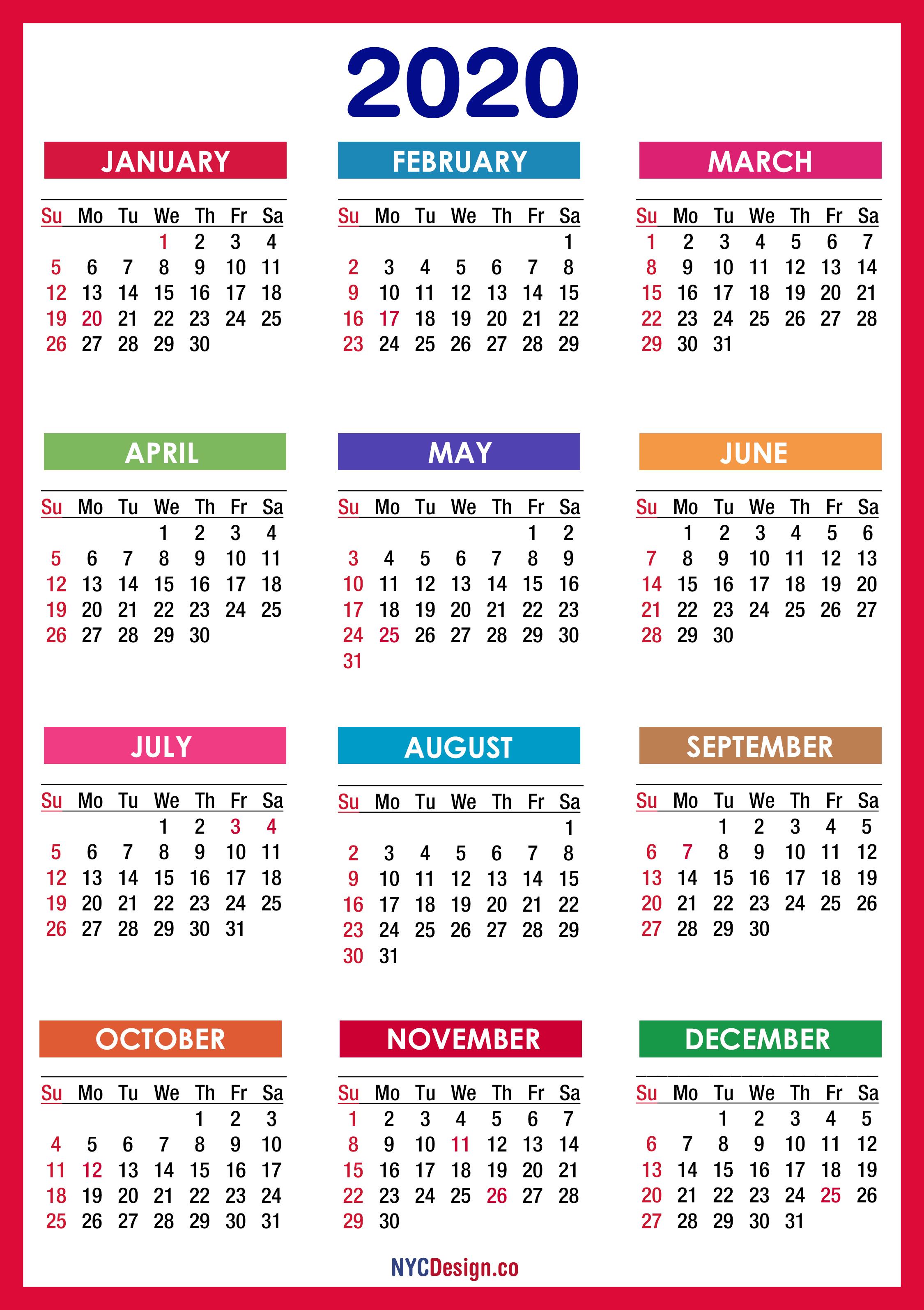 2020 Calendar With Holidays, Printable Free, Pdf, Colorful within 2020 Calendar With Holidays Printable Free