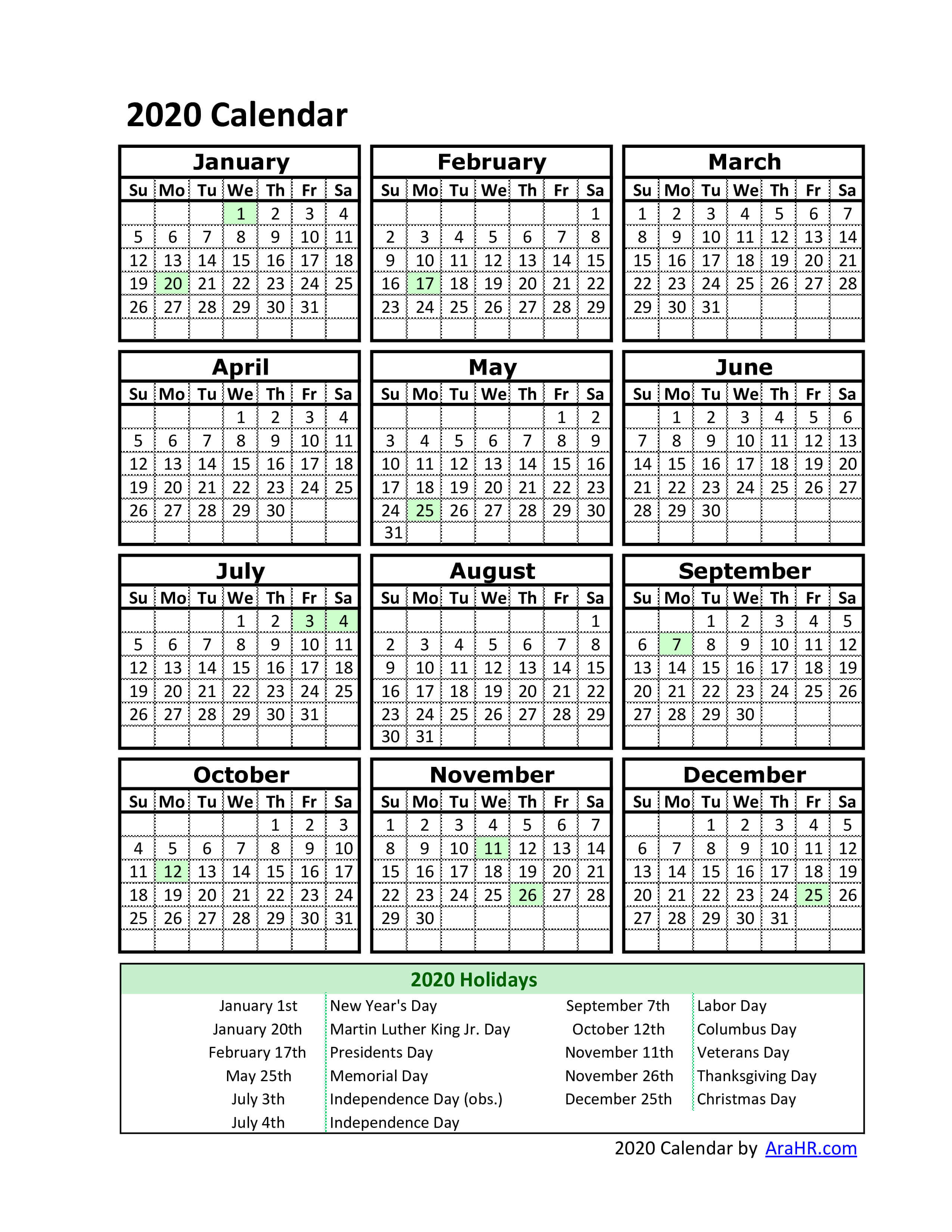 2020 Calendar - Yearly - Monthly - Free - Printable inside 2020 Yearly Calendar With Holidays Printable