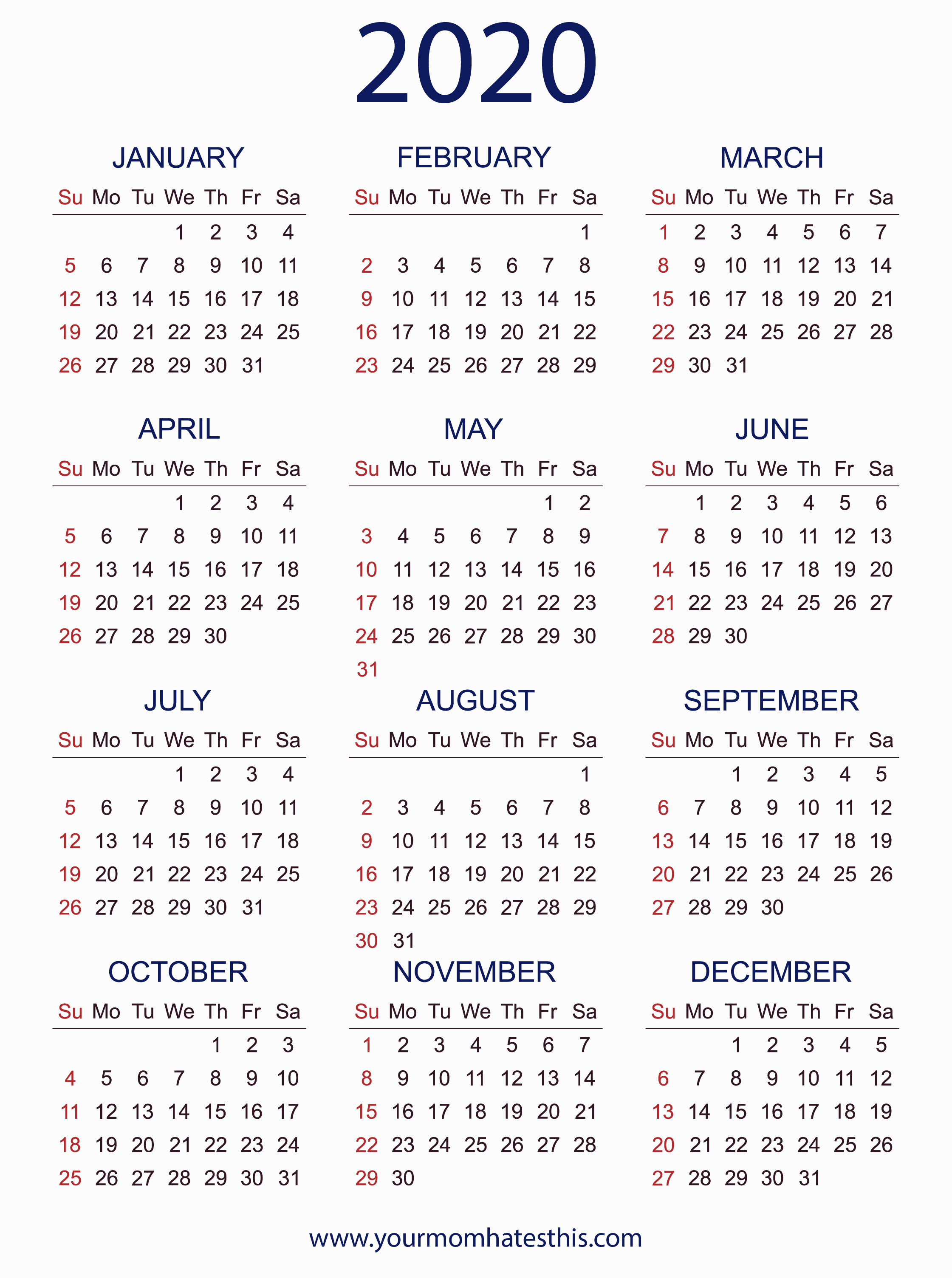 2020 Calendars In Pdf - Download Templates Of Calendar 2020 inside 2020 Calendar Vertical