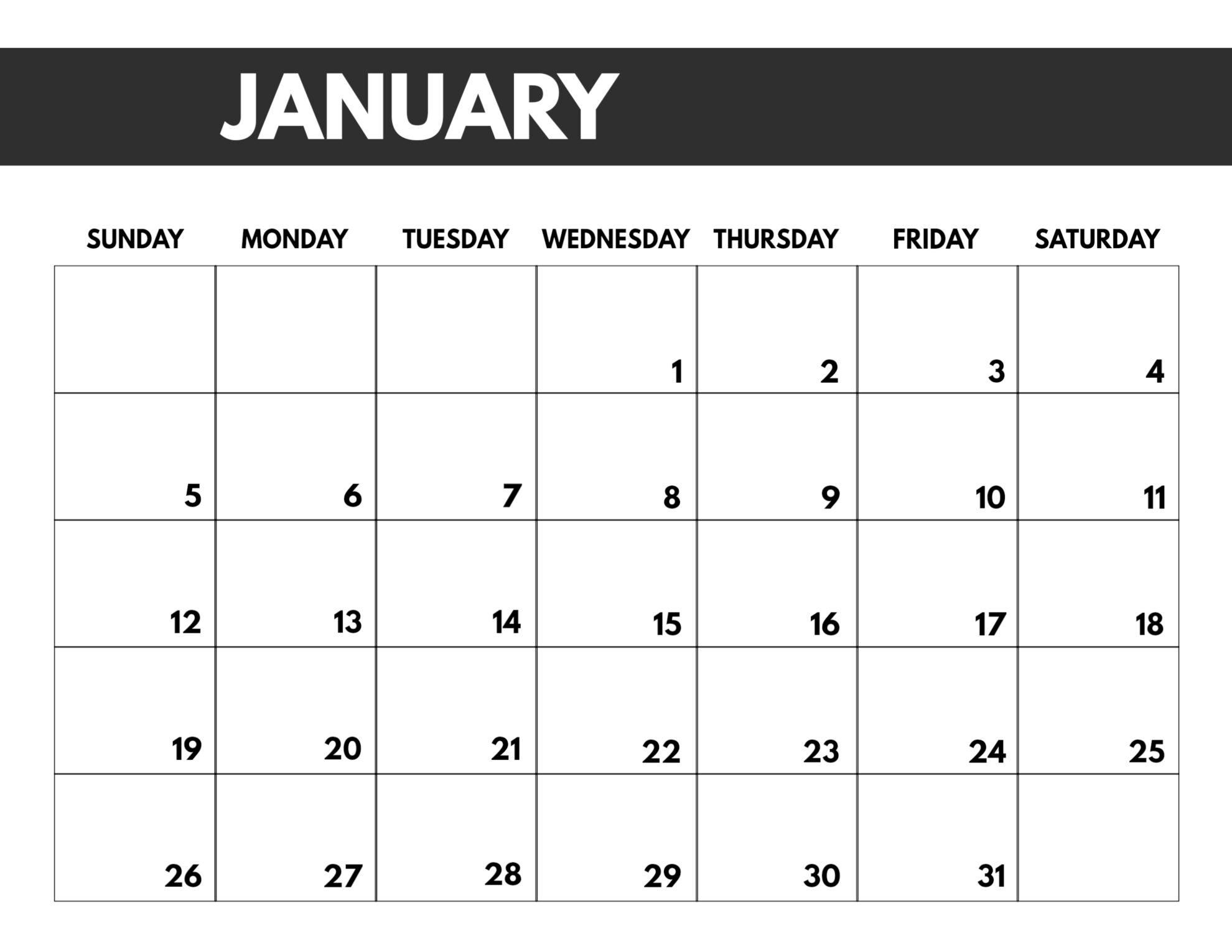 2020 Free Monthly Calendar Template - Paper Trail Design throughout Free Printable 2020 Calendars Large Numbers