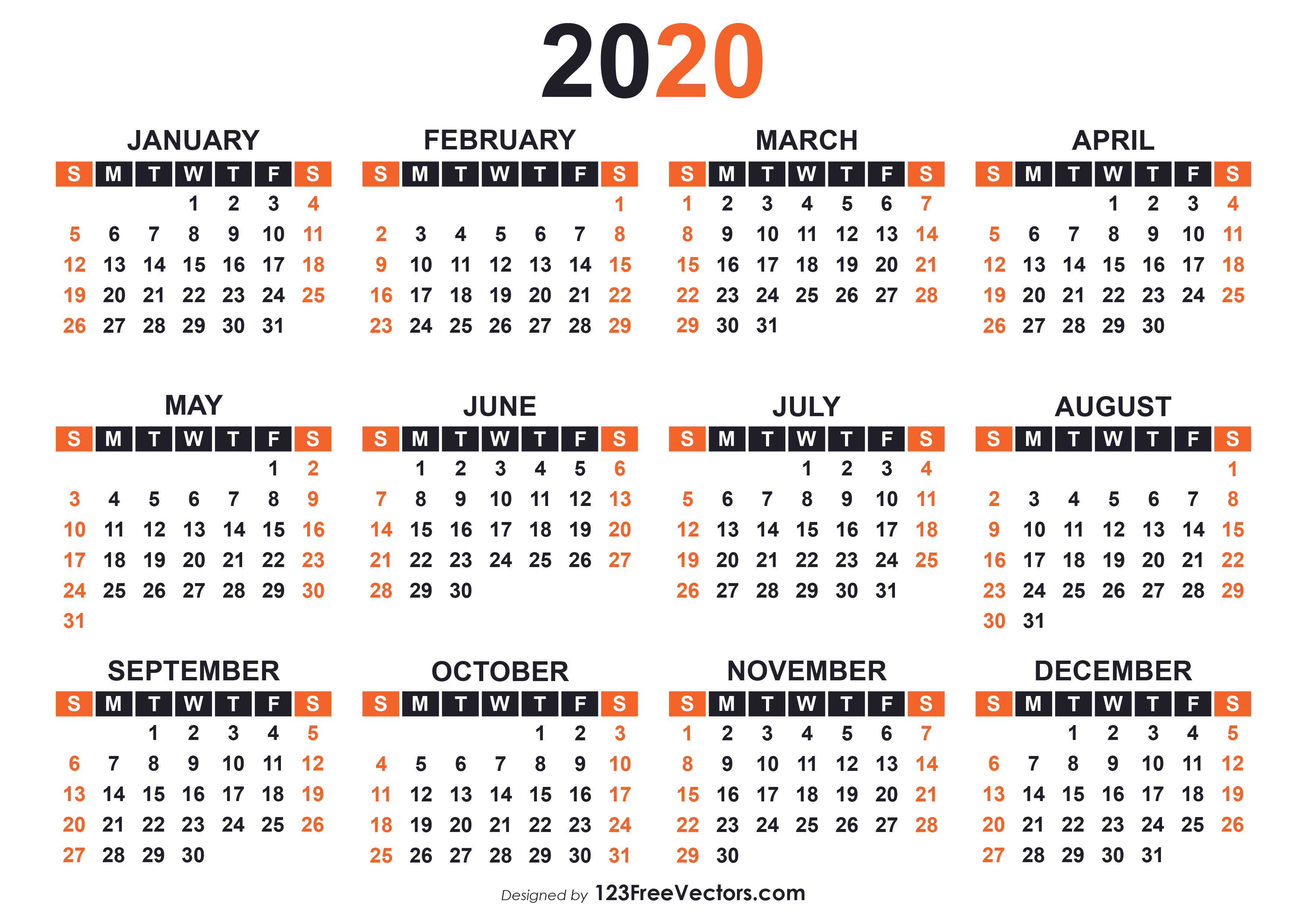 2020 Free Printable Calendar Templates pertaining to Large Numbers Free Printable Calendar 2020
