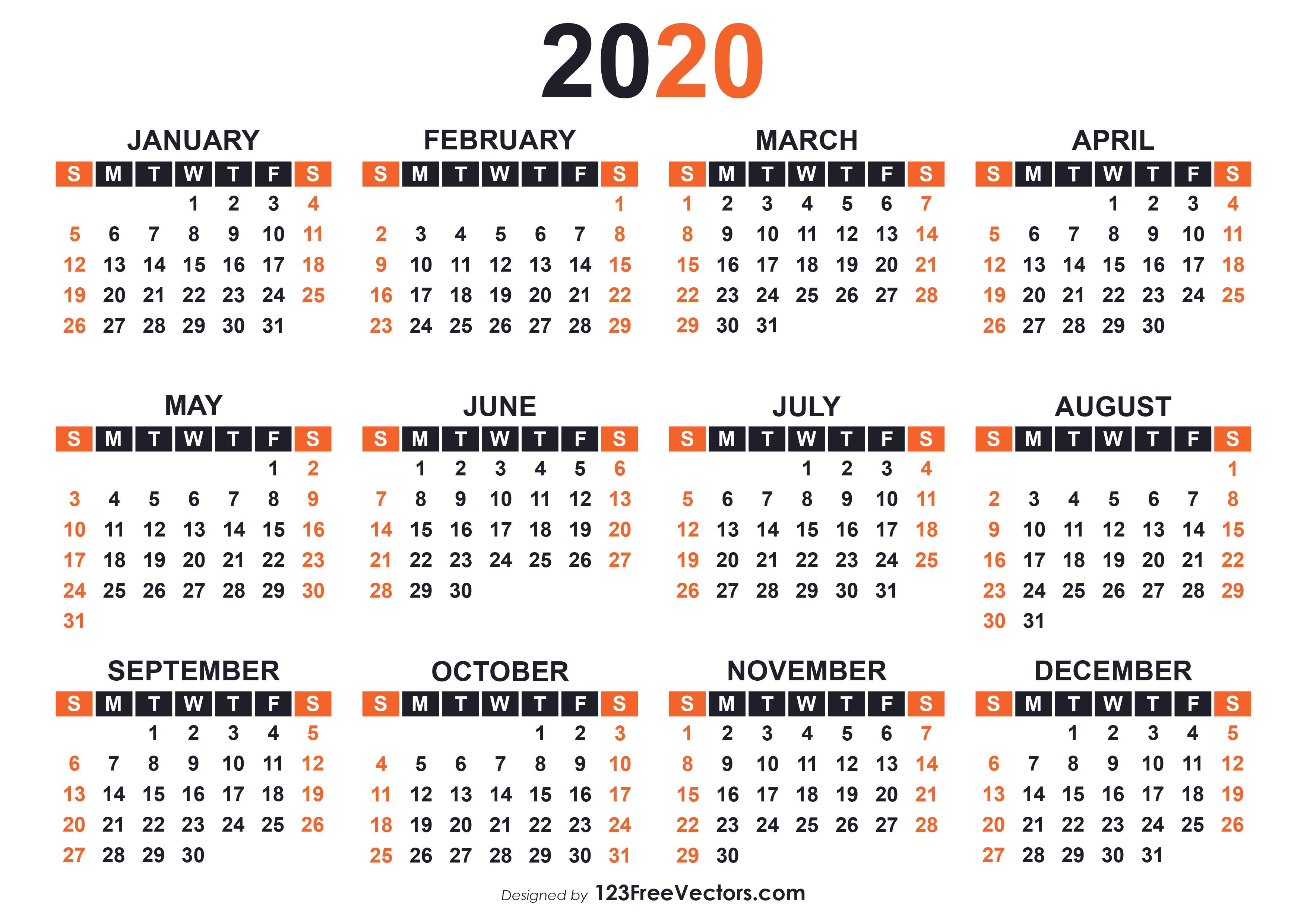 2020 Free Printable Calendar Templates with regard to Free Printable 2020 Calendars Large Numbers