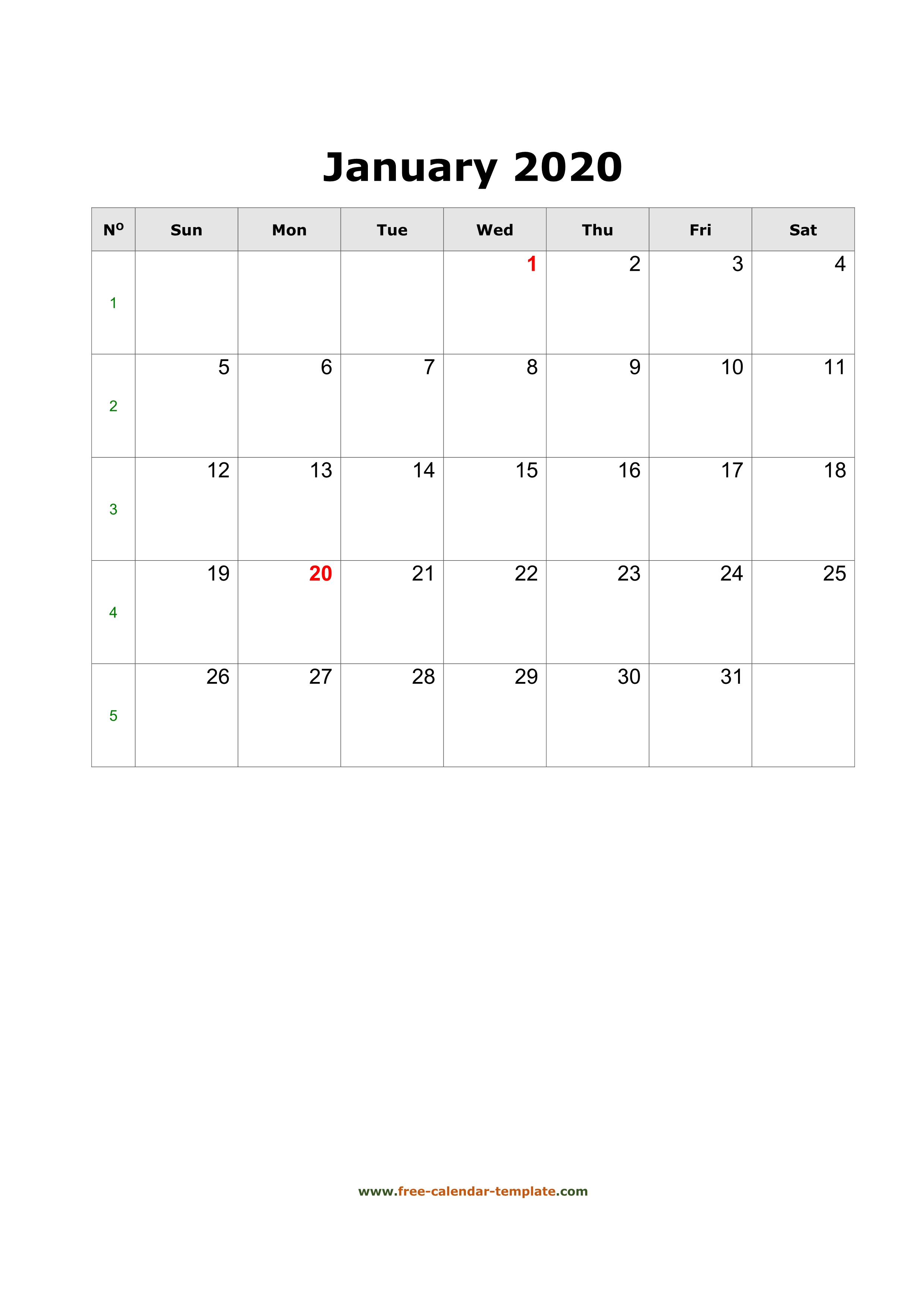 2020 January Calendar (Blank Vertical Template) | Free with regard to 2020 Calendar Vertical