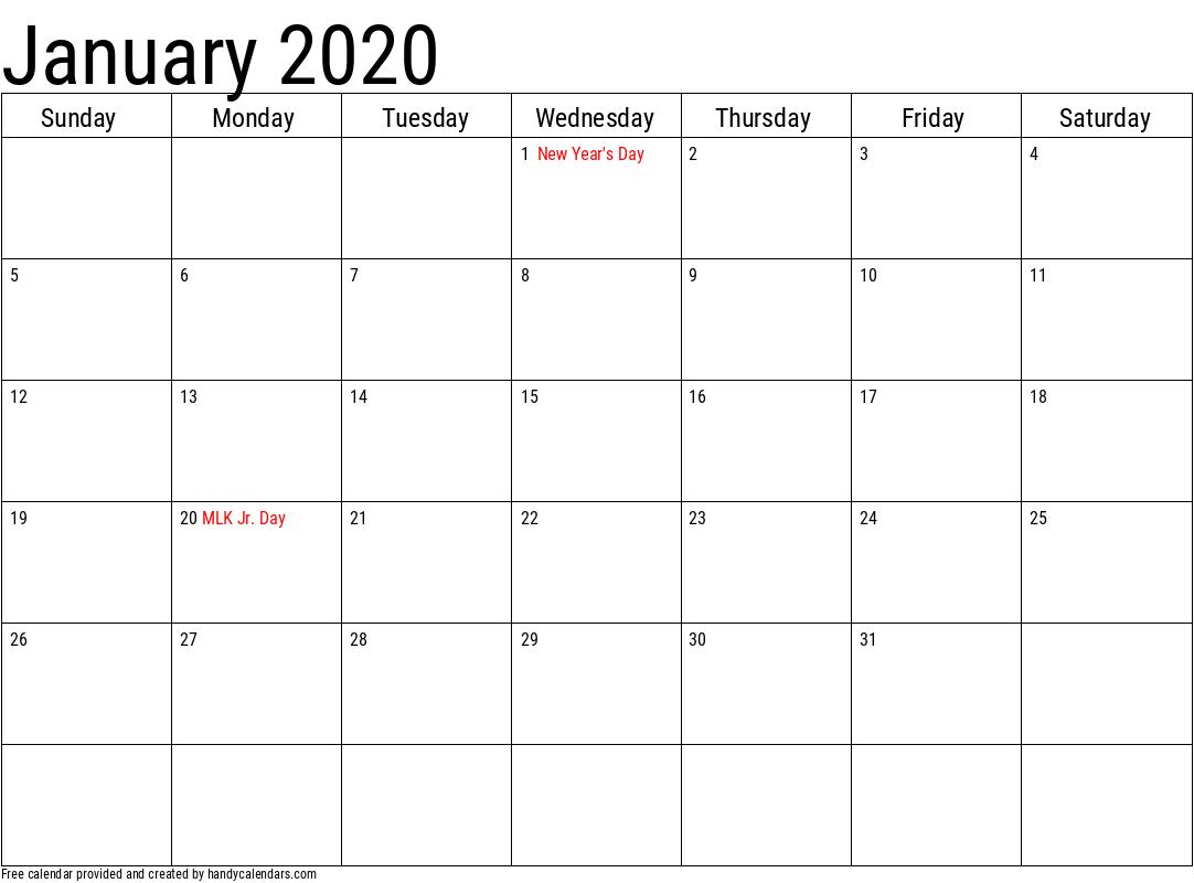 2020 January Calendars - Handy Calendars within January 2020 Calendar
