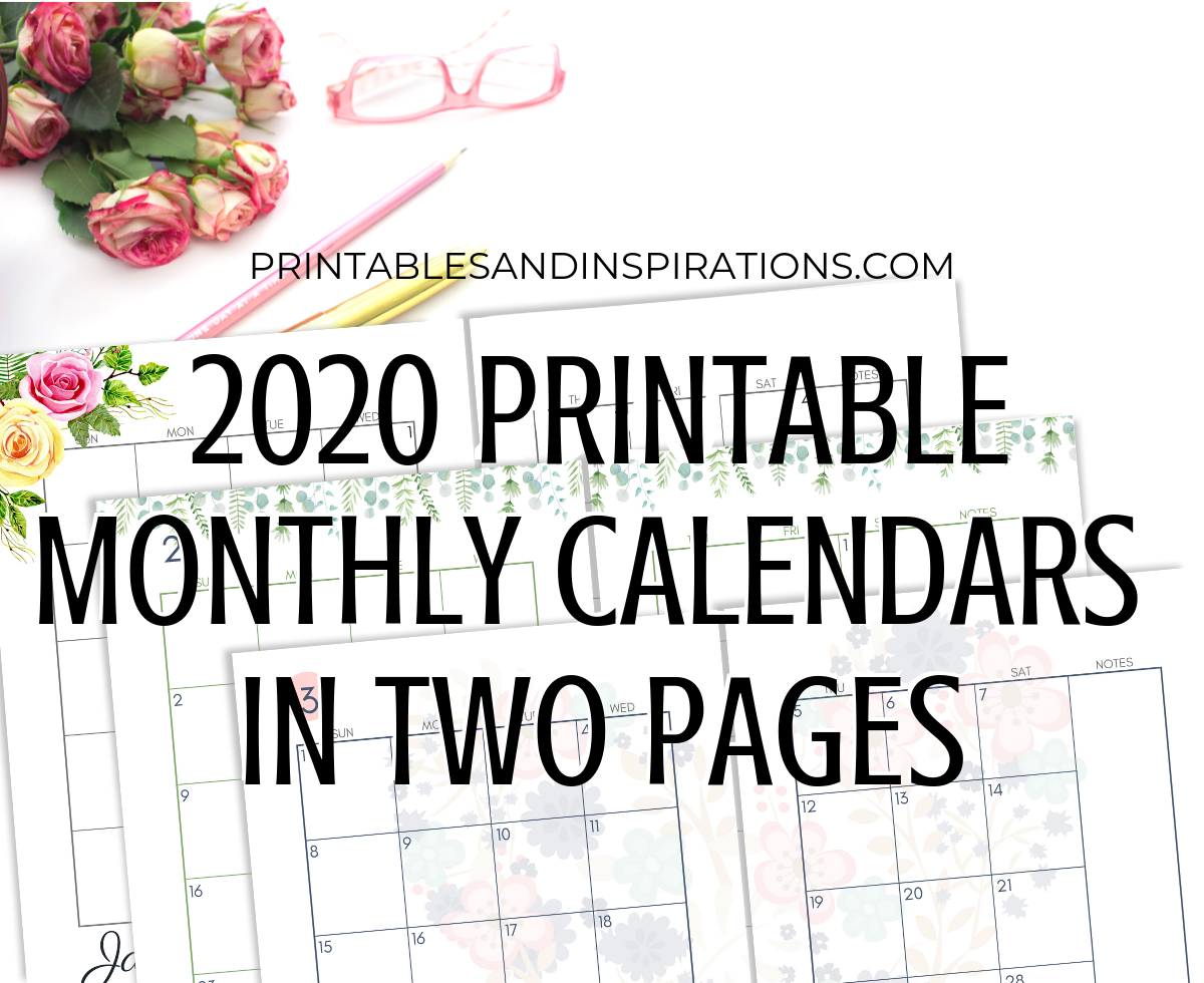 2020 Monthly Calendar Two Page Spread – Free Printable within Half Page 2020 Calender