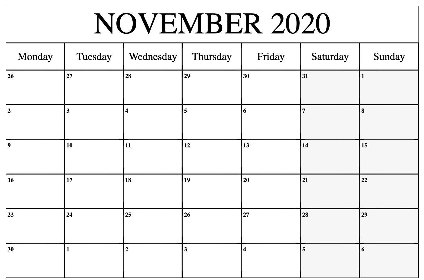 2020 November Calendar | November Calendar, August Calendar for Bring Up Calander For October And November 2020