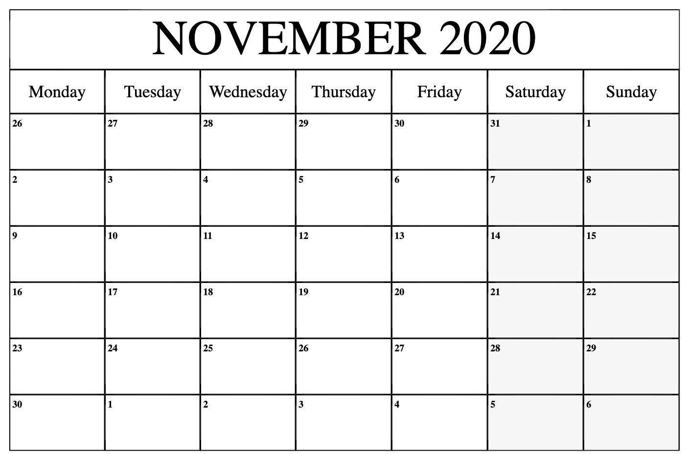 2020 November Calendar | November Calendar, August Calendar with Vertex 2020 Calendars Monday Through Sunday