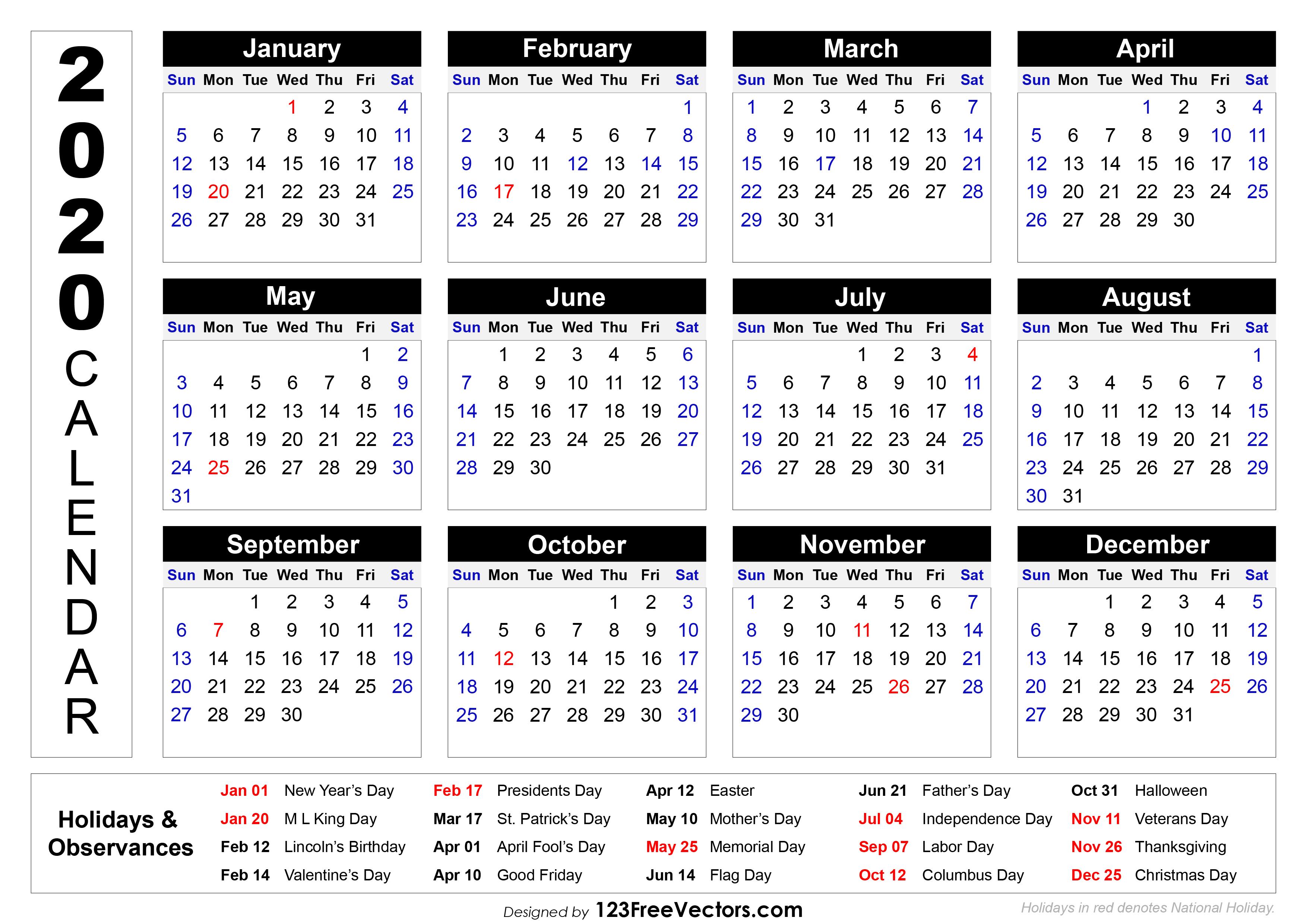 2020 Printable Calendar With Holidays within 2020 Calendar With Holidays