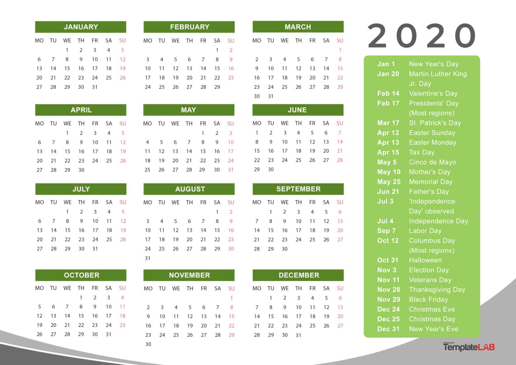 2020 Printable Calendars [Monthly, With Holidays, Yearly] ᐅ throughout Calendar At A Glance With Usa Holidays For 2020