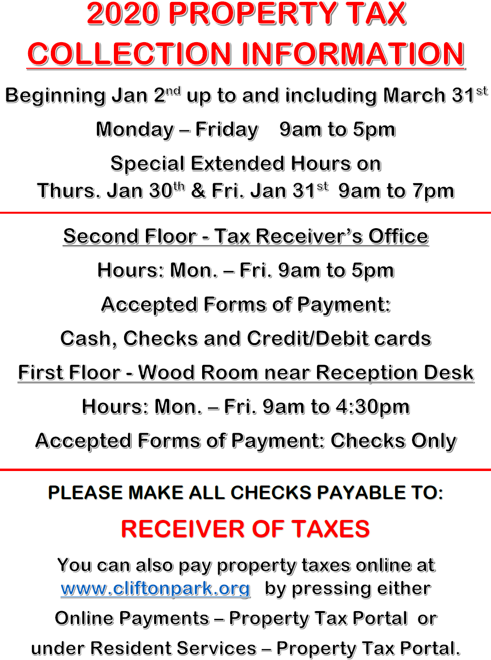 2020 Property Tax Collection Information within Tax Desk Card For 2020