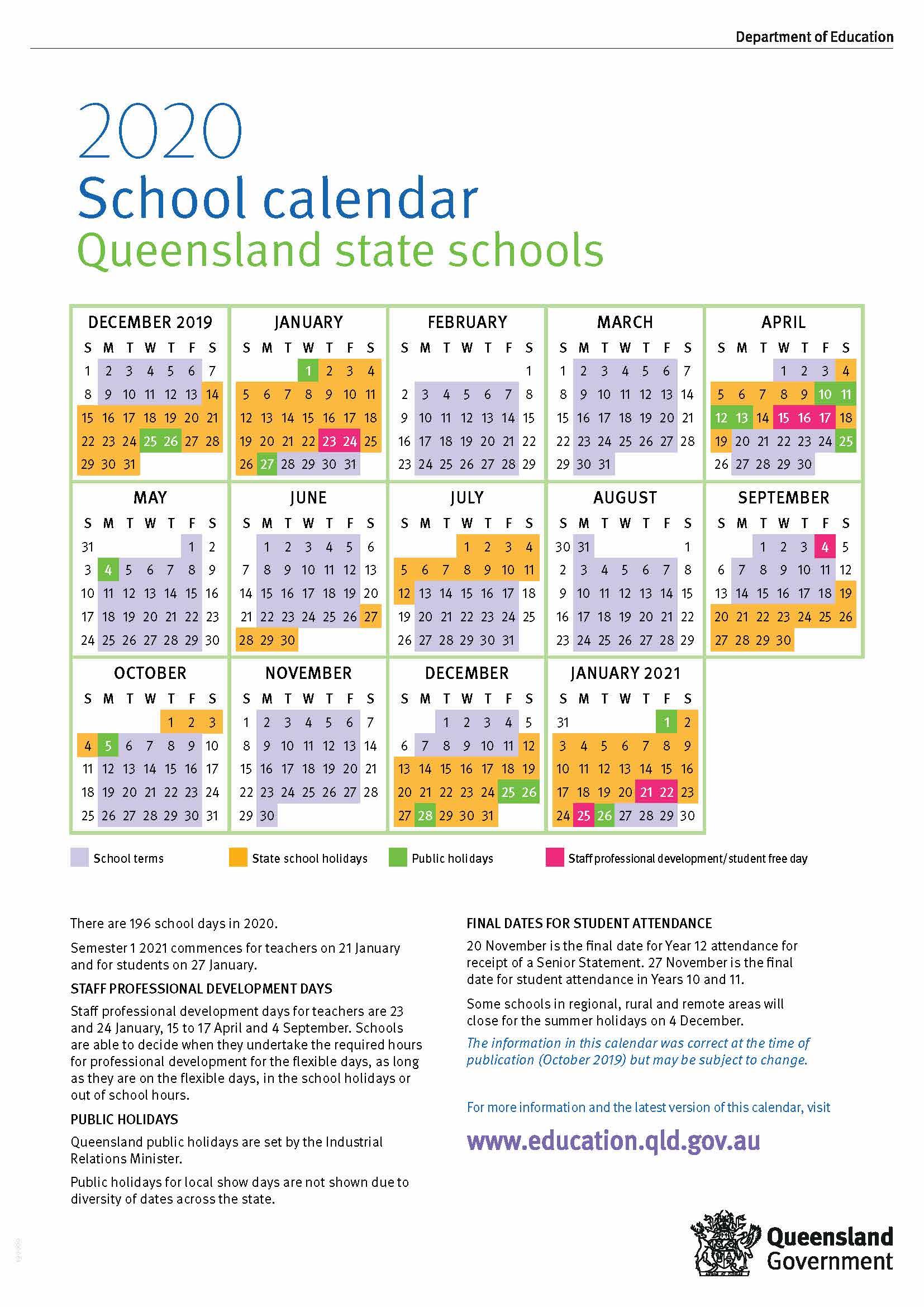 2020 Queensland State School Calendar in 2020 School Calendar Qld State Schools