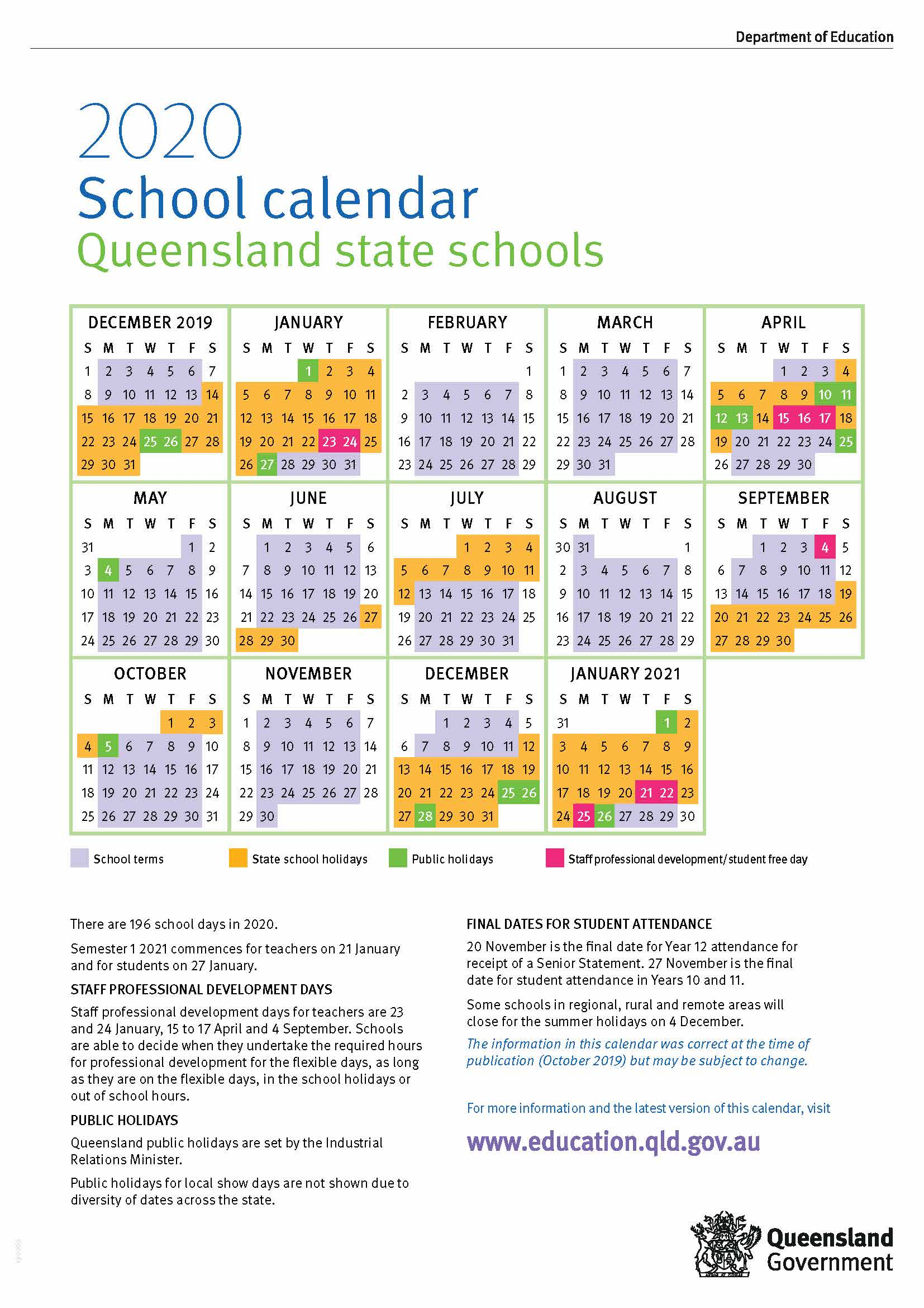 2020 Queensland State School Calendar pertaining to 2020 School Calendar Queensland State Schools