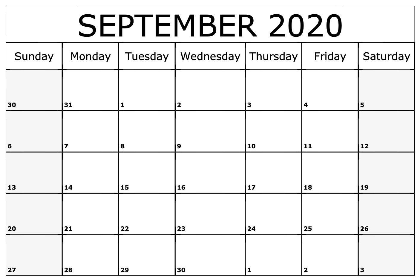 2020 September Calendar | Printable Calendar Template in Vertex Calendars 2020 Printable