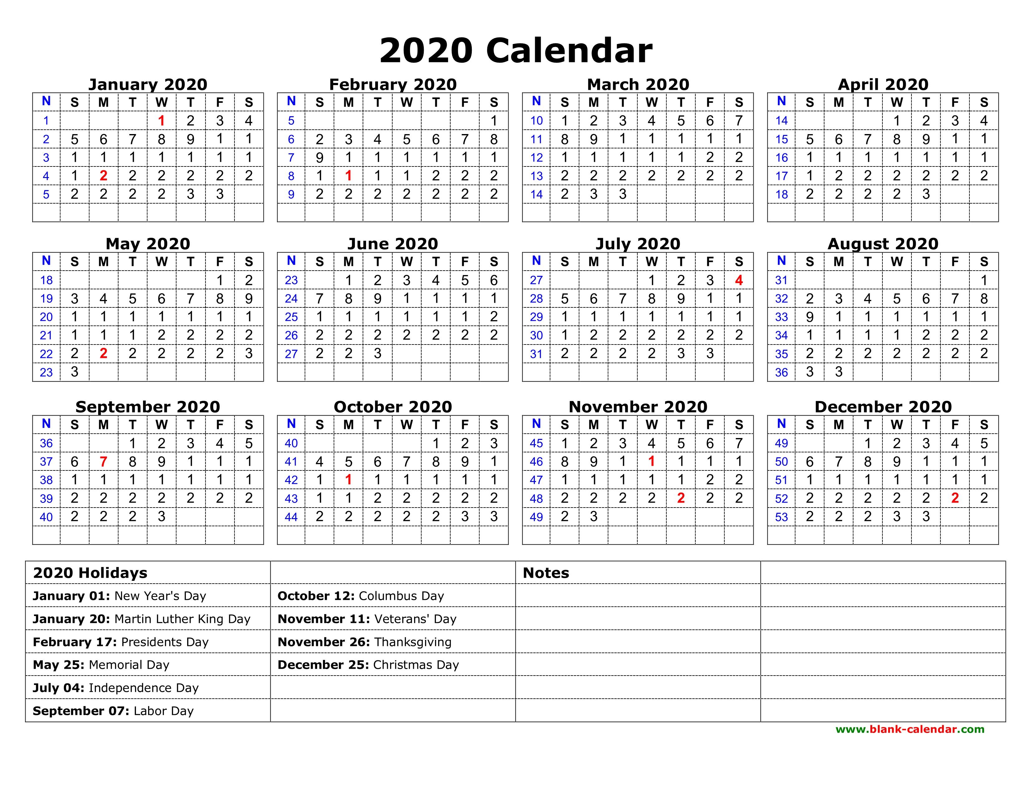 2020 Us Calendar With Holidays Printable - Wpa.wpart.co for 2020 Yearly Calendar With Holidays