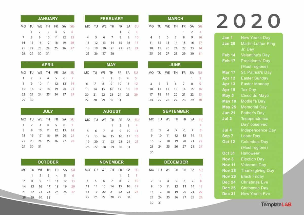 2020 Yearly Holidays Calendar | Printable Calendar Template throughout 2020 Yearly Calendar With Holidays Printable