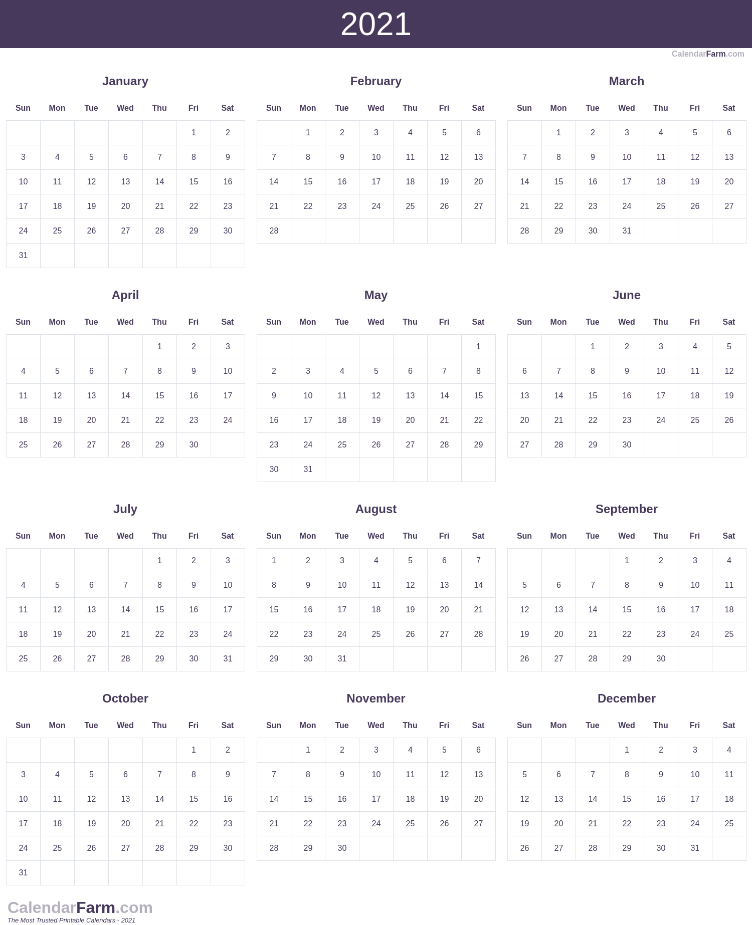 2021 Calendar pertaining to 2021 Printable Calendar Free