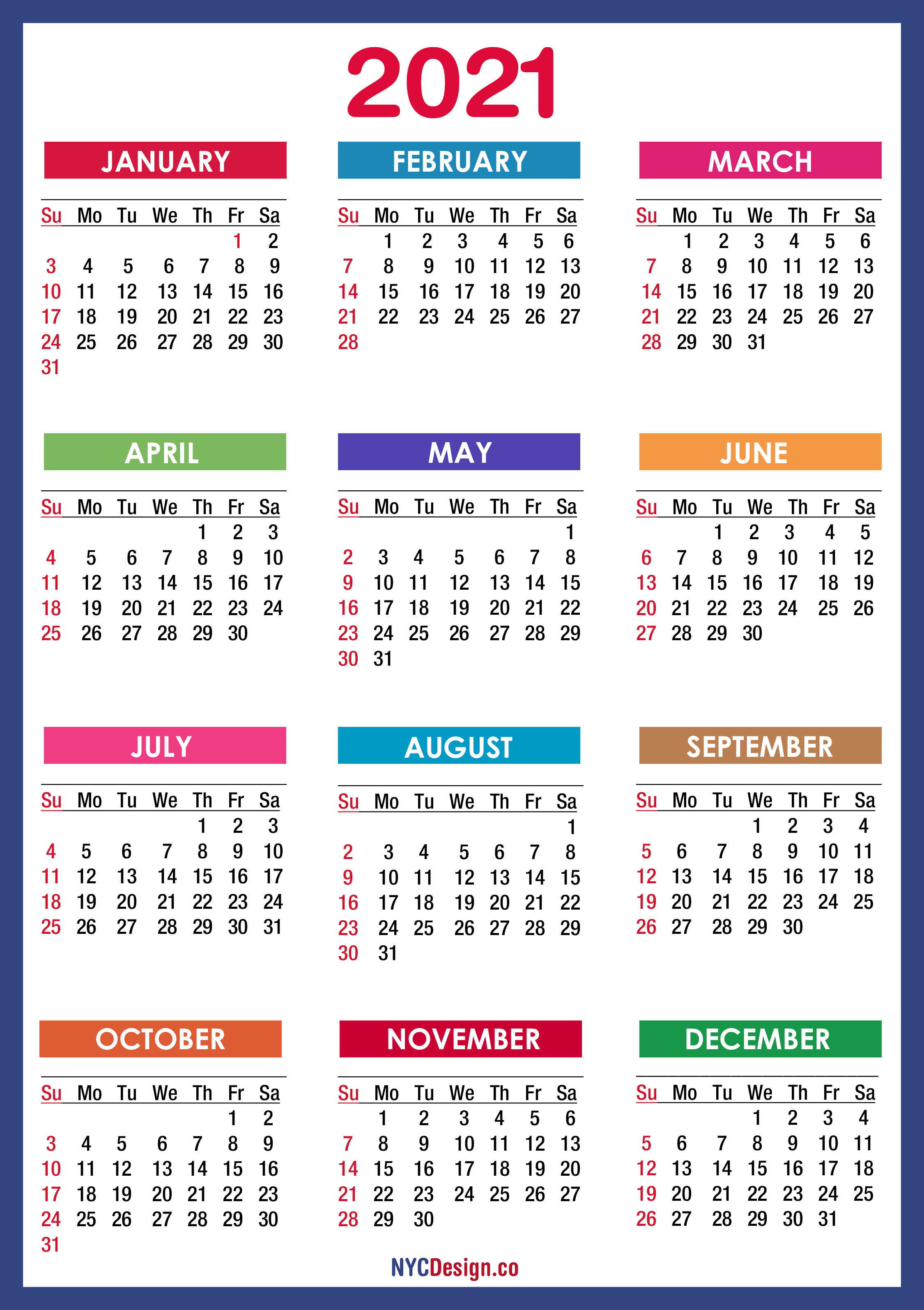 2021 Calendar Printable Free, Pdf, Colorful, Blue, Green in 2021 Printable Calendar Free