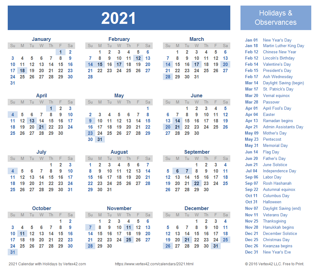 2021 Calendar Templates And Images regarding 2021 Printable Calendar Free