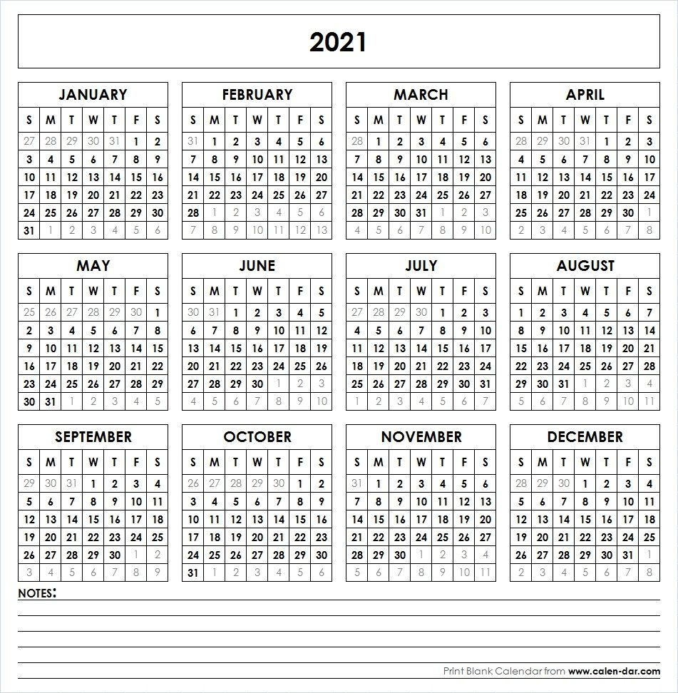 2021 Printable Calendar | Printable Yearly Calendar with 2021 Printable Calendar Free