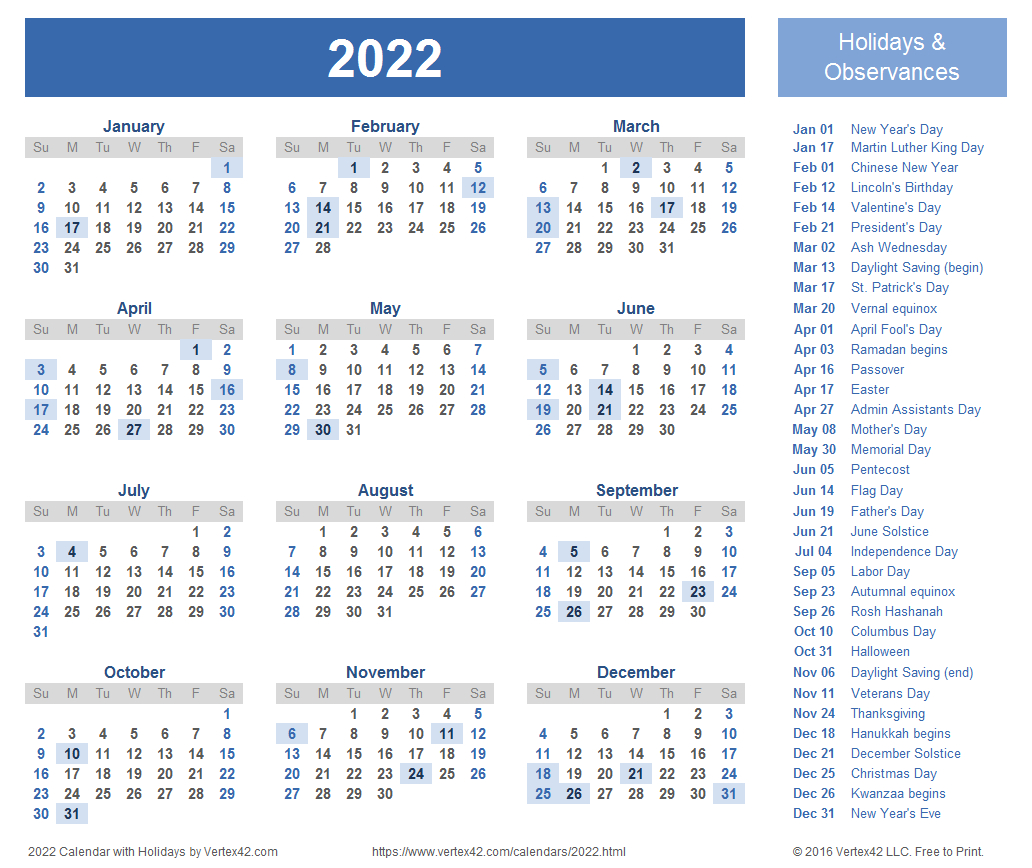 2022 Calendar Templates And Images with Free Printable Calendar 2020-2022