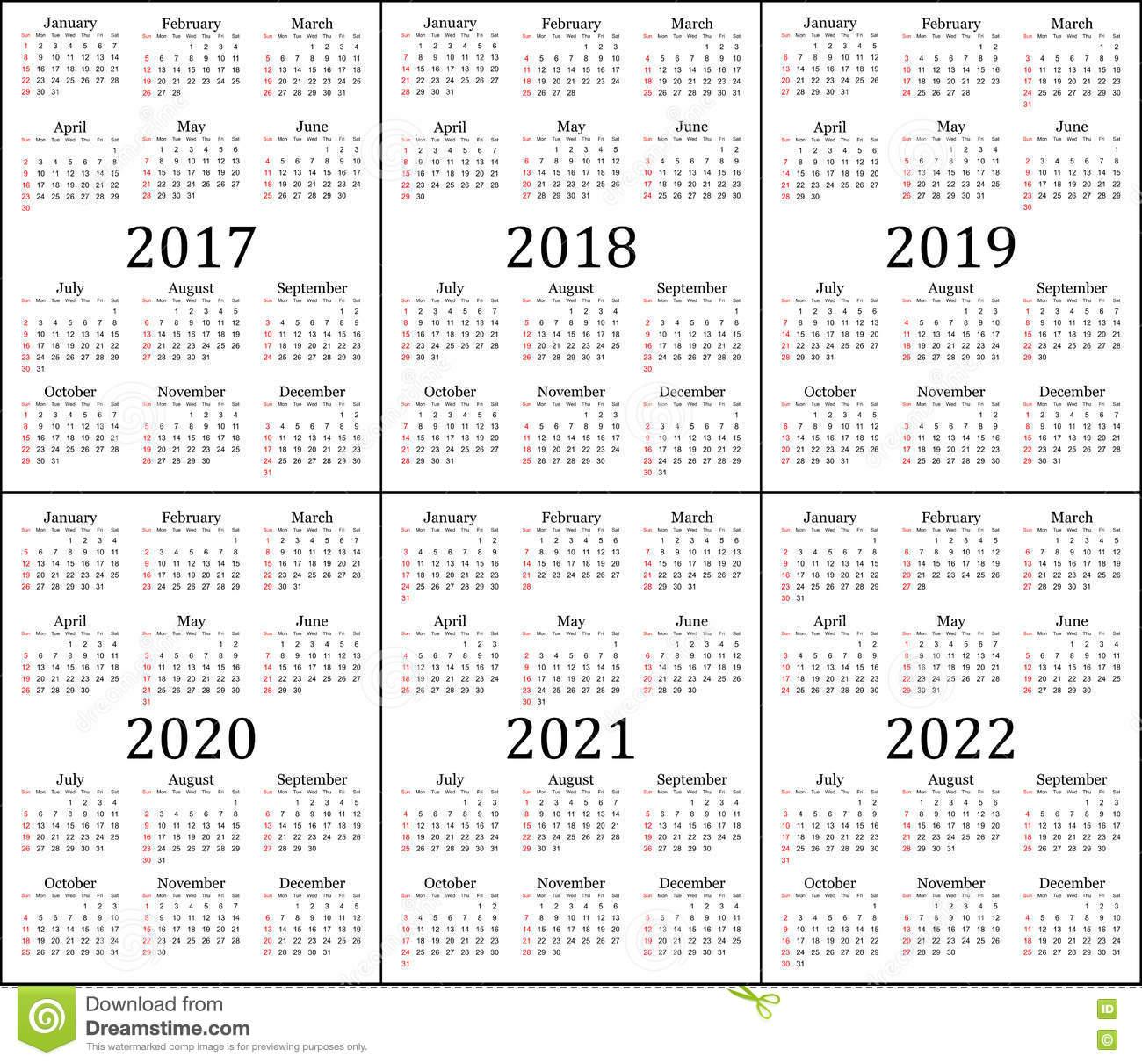 6 Календарей Года - 2017, 2018, 2019, 2020, 2021 И 2022 inside Three Year Calendar 2020 2021 2022