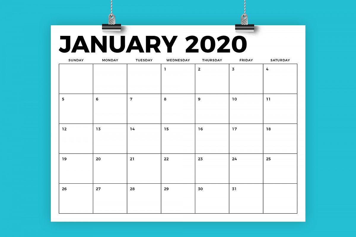 8.5 X 11 Inch Bold 2020 Calendar with regard to 8.5 X 11 Calendar Template