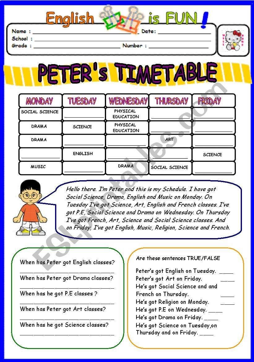 A Worksheet On School Subjects And Timetable With Fill In for Printable Social Skills Fill In The Blanks