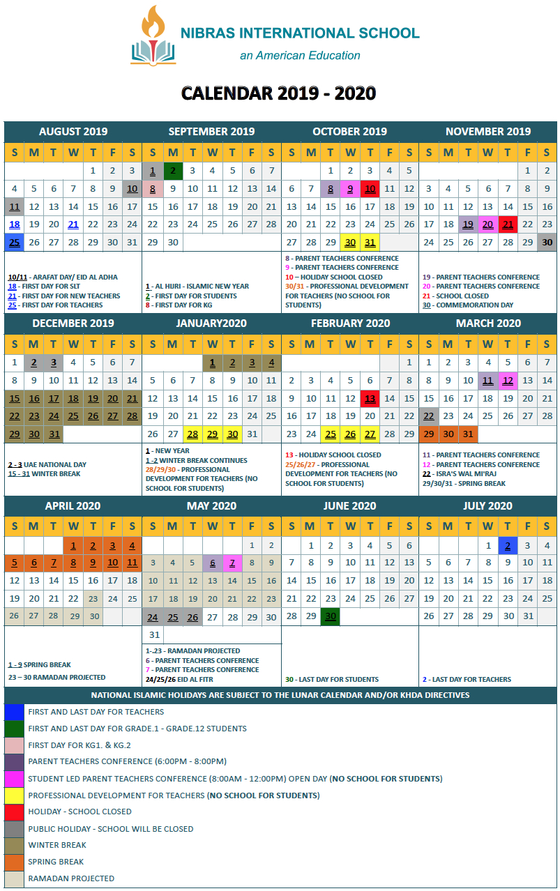 Academic Calendar - Nis American School Dubai for Calander 2020 We Does The School Close