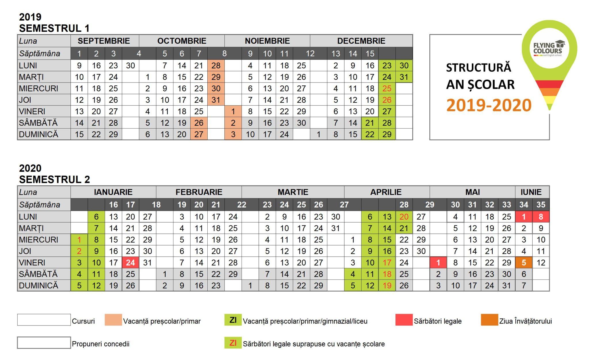 Anul Școlar 2019-2020 Vine Cu Multe Sărbători Legale with Calendar 2020 Zile Libere