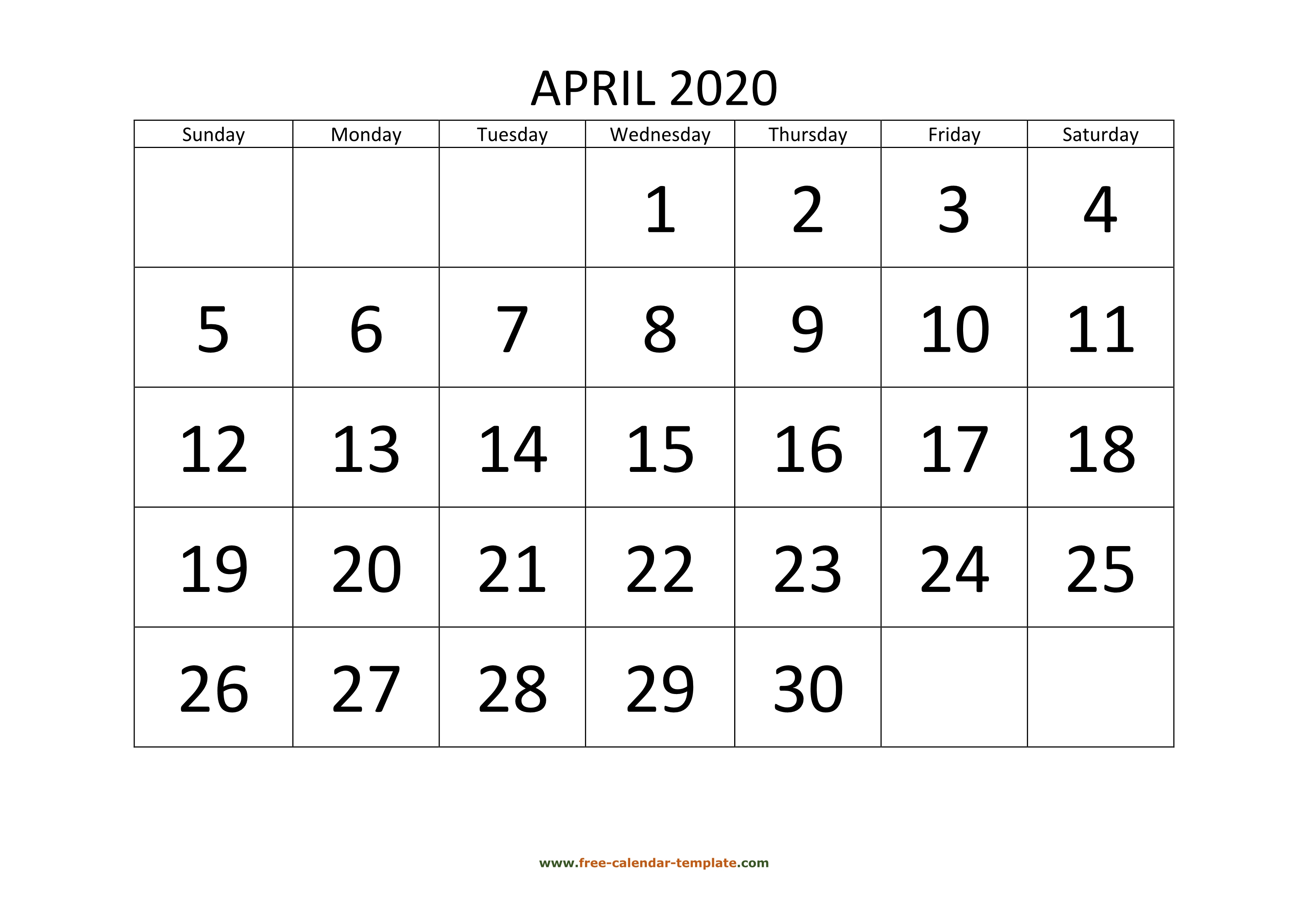 April 2020 Calendar Designed With Large Font (Horizontal for Large Numbers Free Printable Calendar 2020