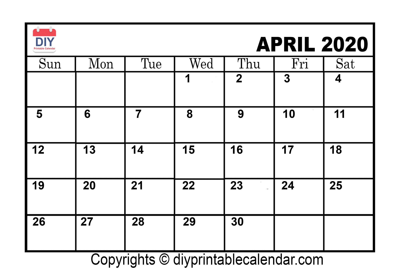 April 2020 Printable Calendar Template inside 2020 Etited Calendar