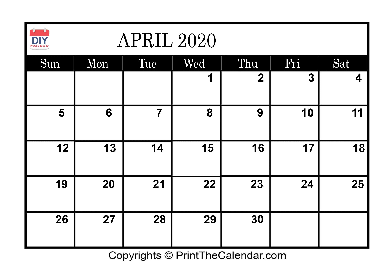 April 2020 Printable Calendar Template with regard to 2020 Etited Calendar